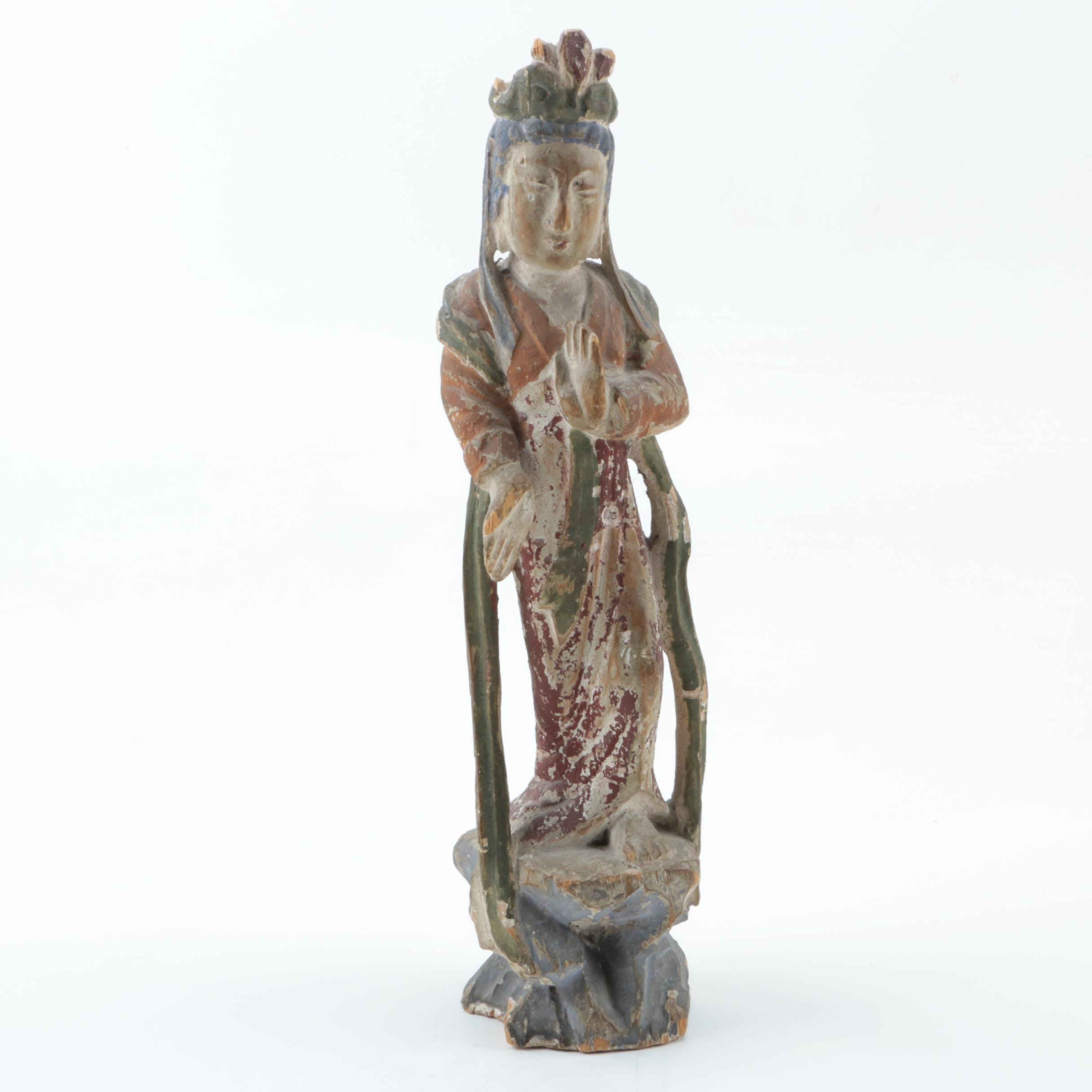 Chinese Tang Style Woman Wooden Figurine