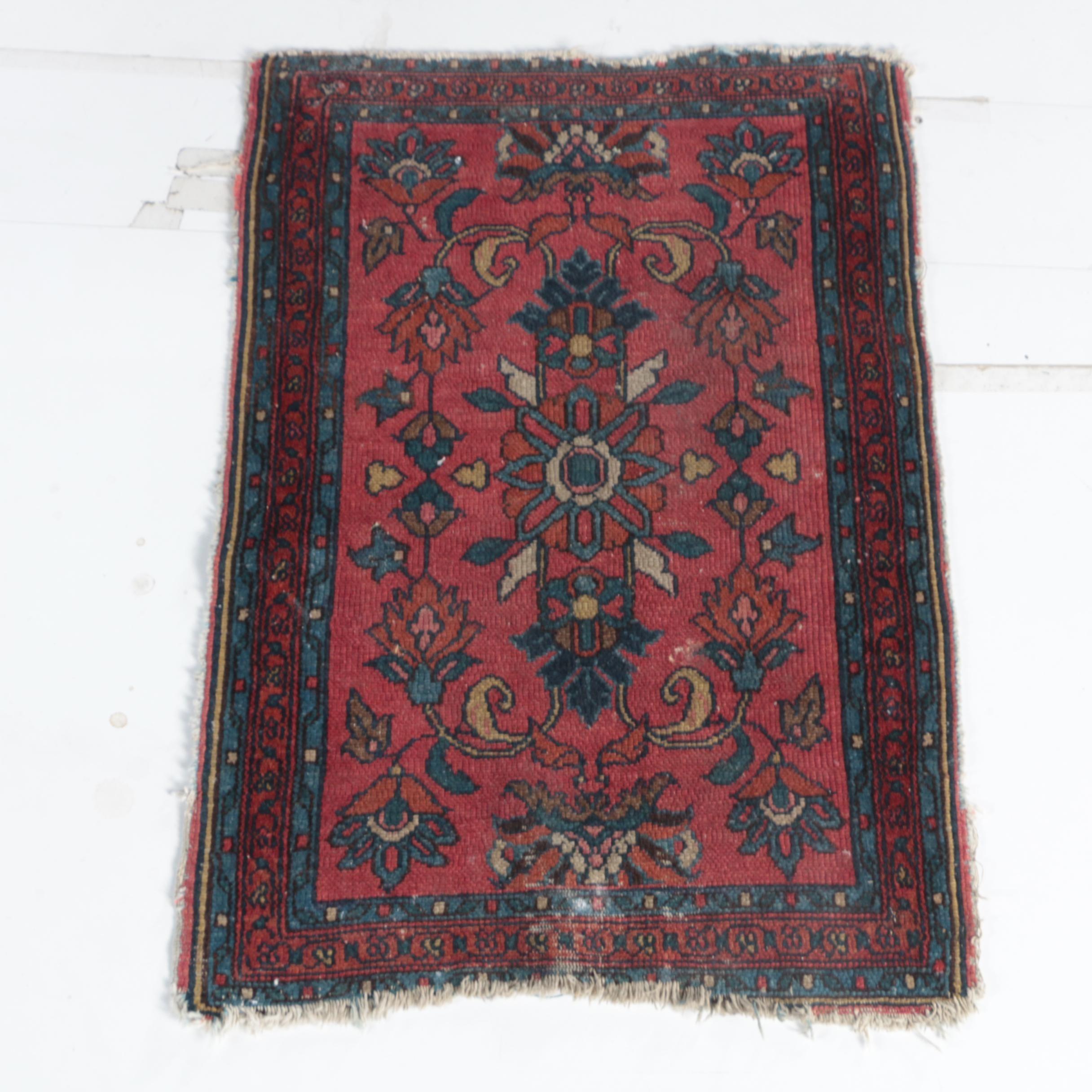 Antique Handwoven Persian Lilihan Wool Accent Rug