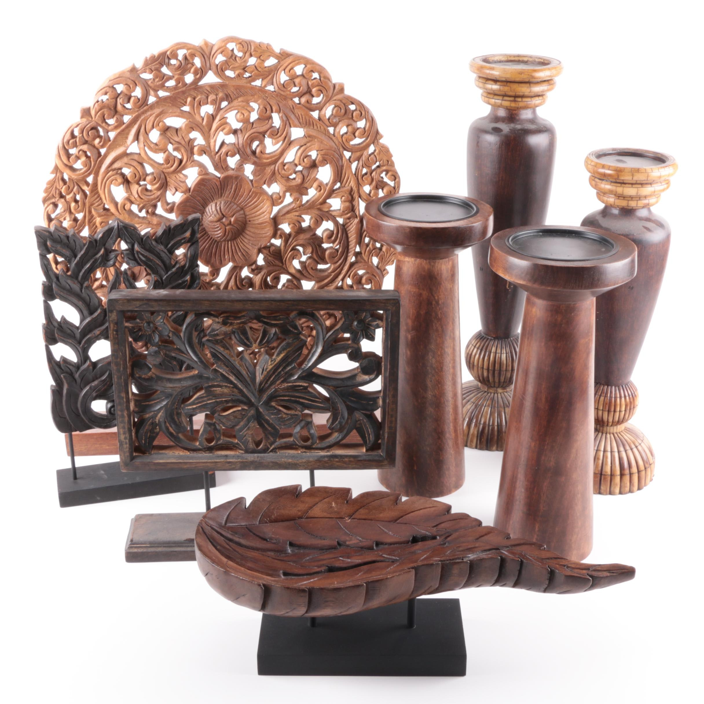 Contemporary Wooden Vases and Decorative Carvings