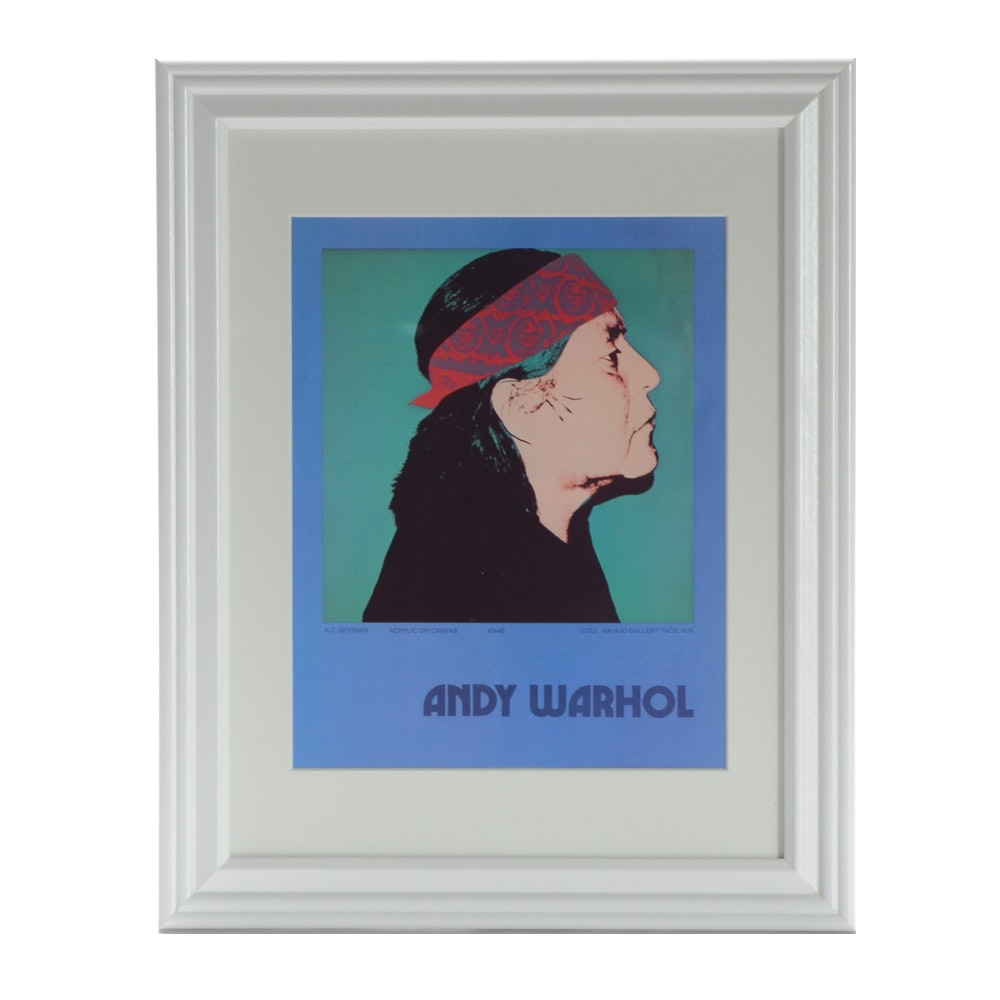 Vintage Offset Lithograph Print Exhibition Advertisement for Andy Warhol