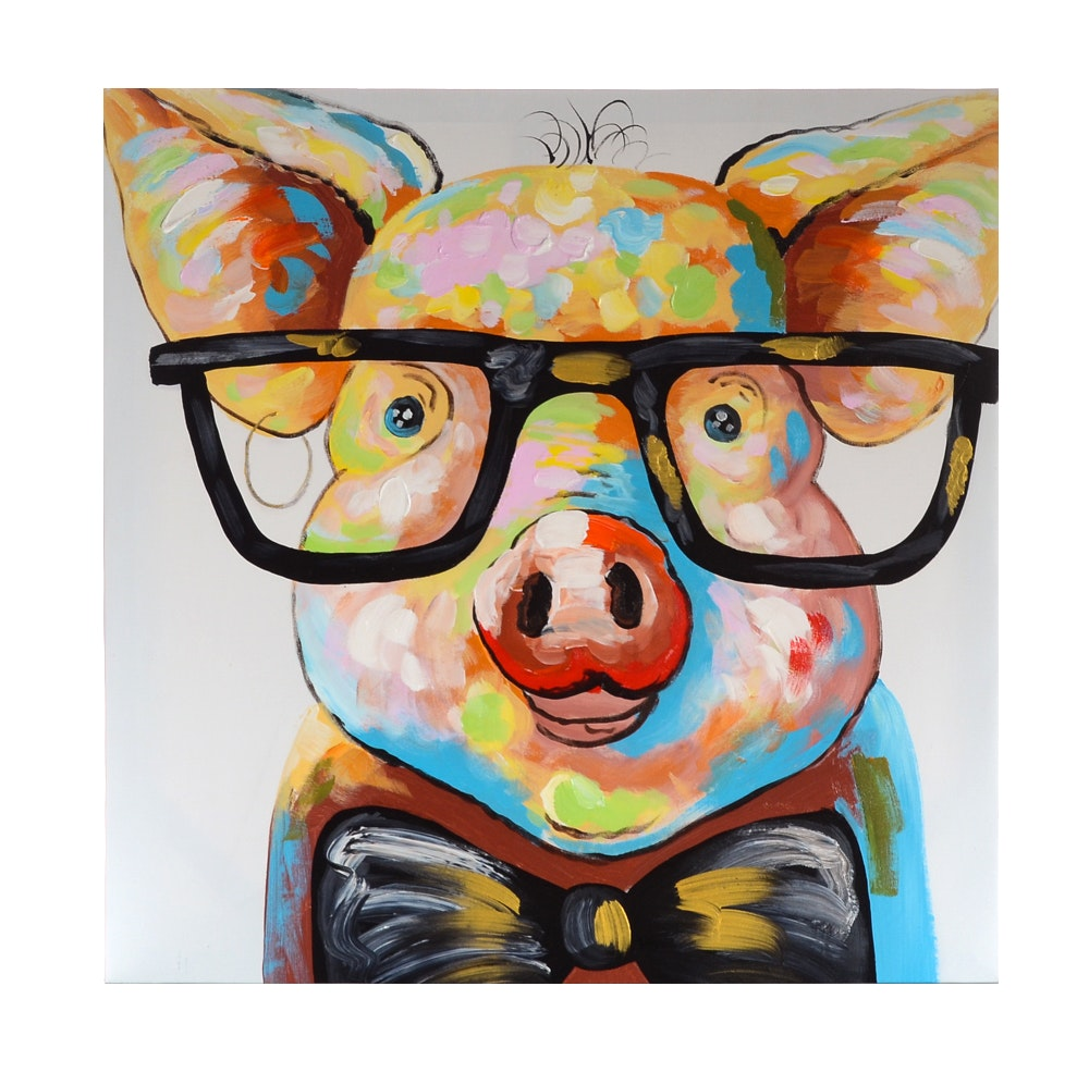 Oil Painting on Canvas of Pig with Glasses