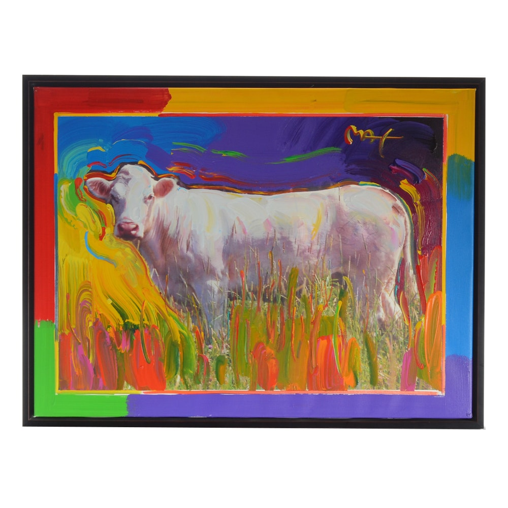 """Peter Max Embellished Giclée """"Cindy Woo: The Cow That Jumped Over The Moon"""""""