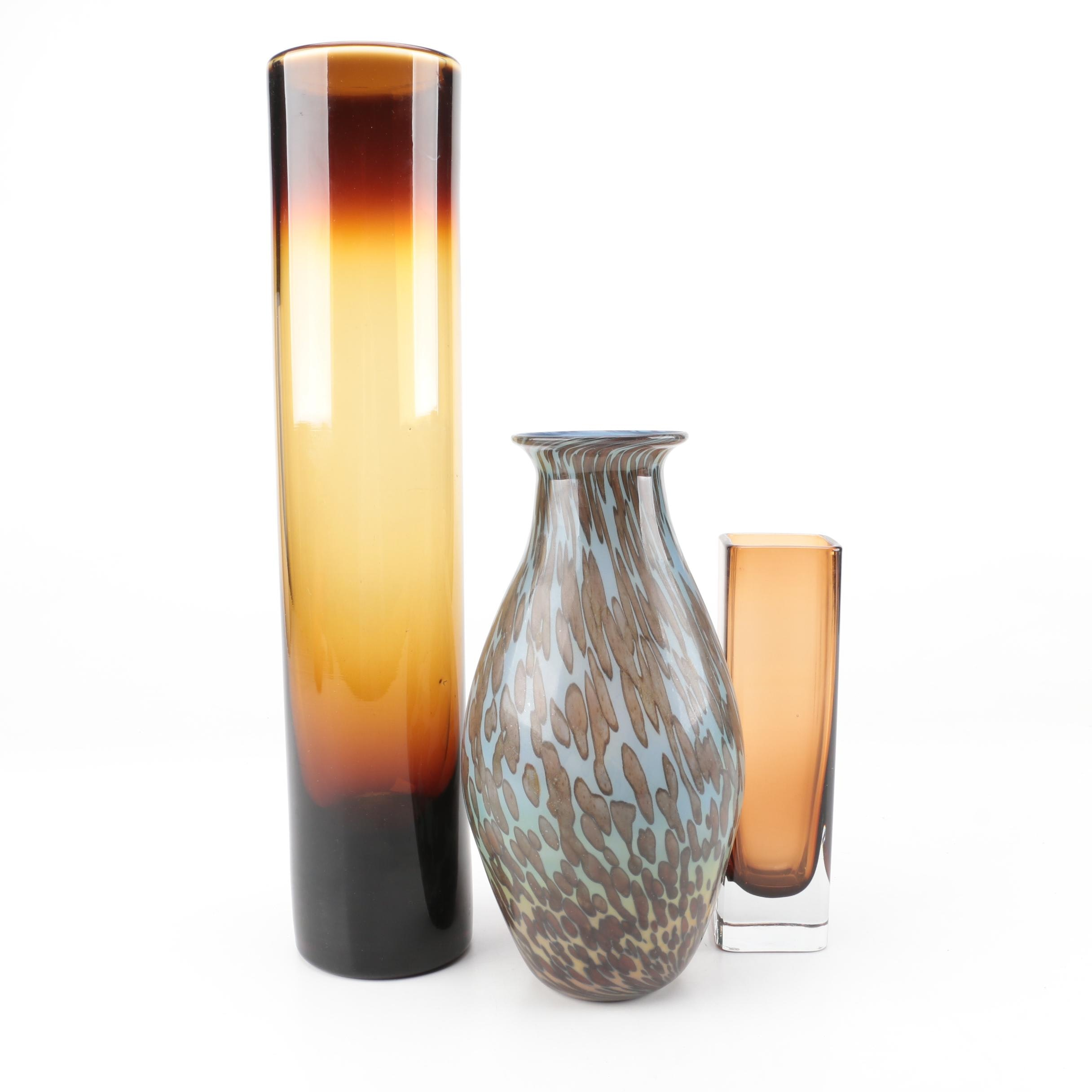 Hand Blown with Signed Art Glass Vases