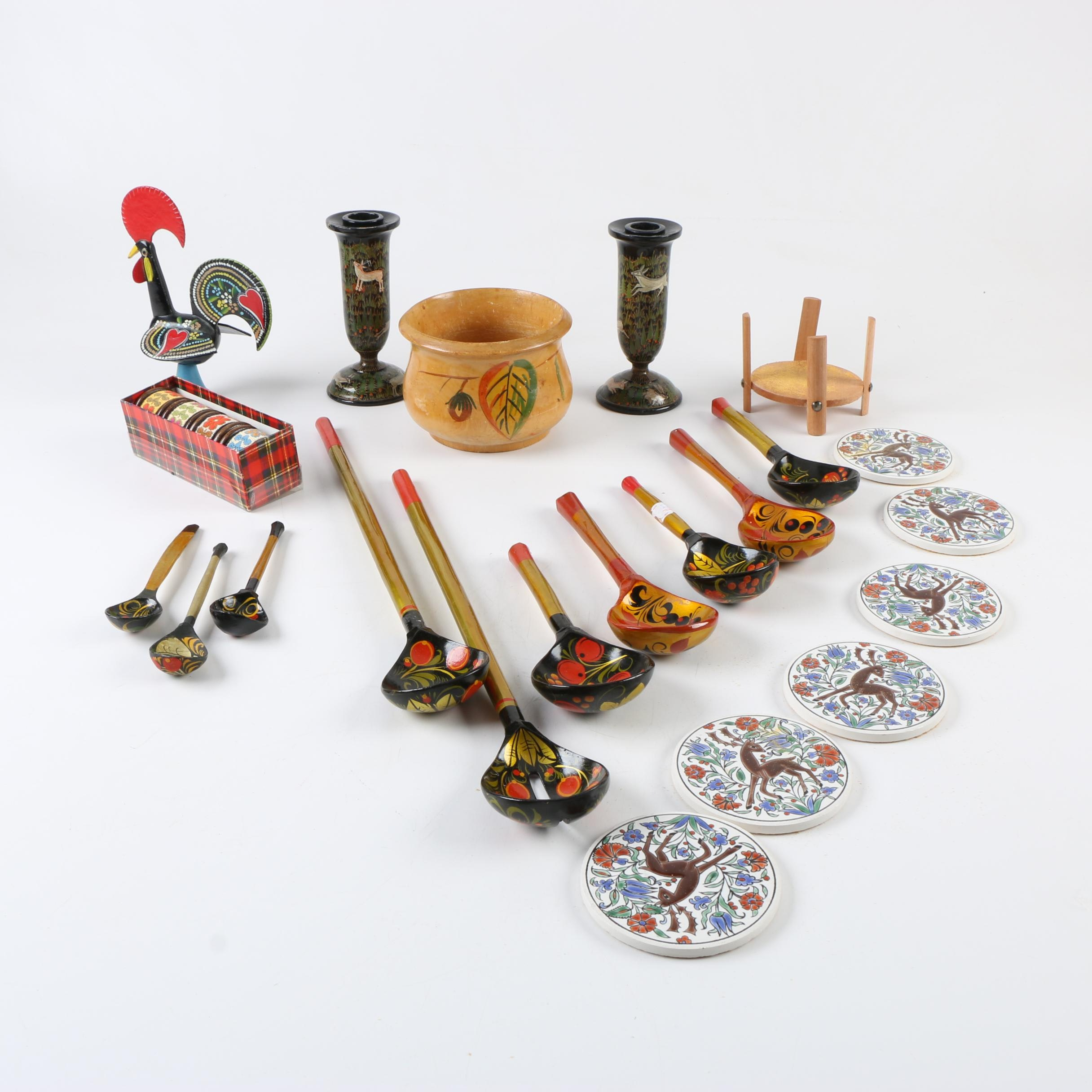 Decorative Souvenirs Including Candle Holders, Spoons and Coasters