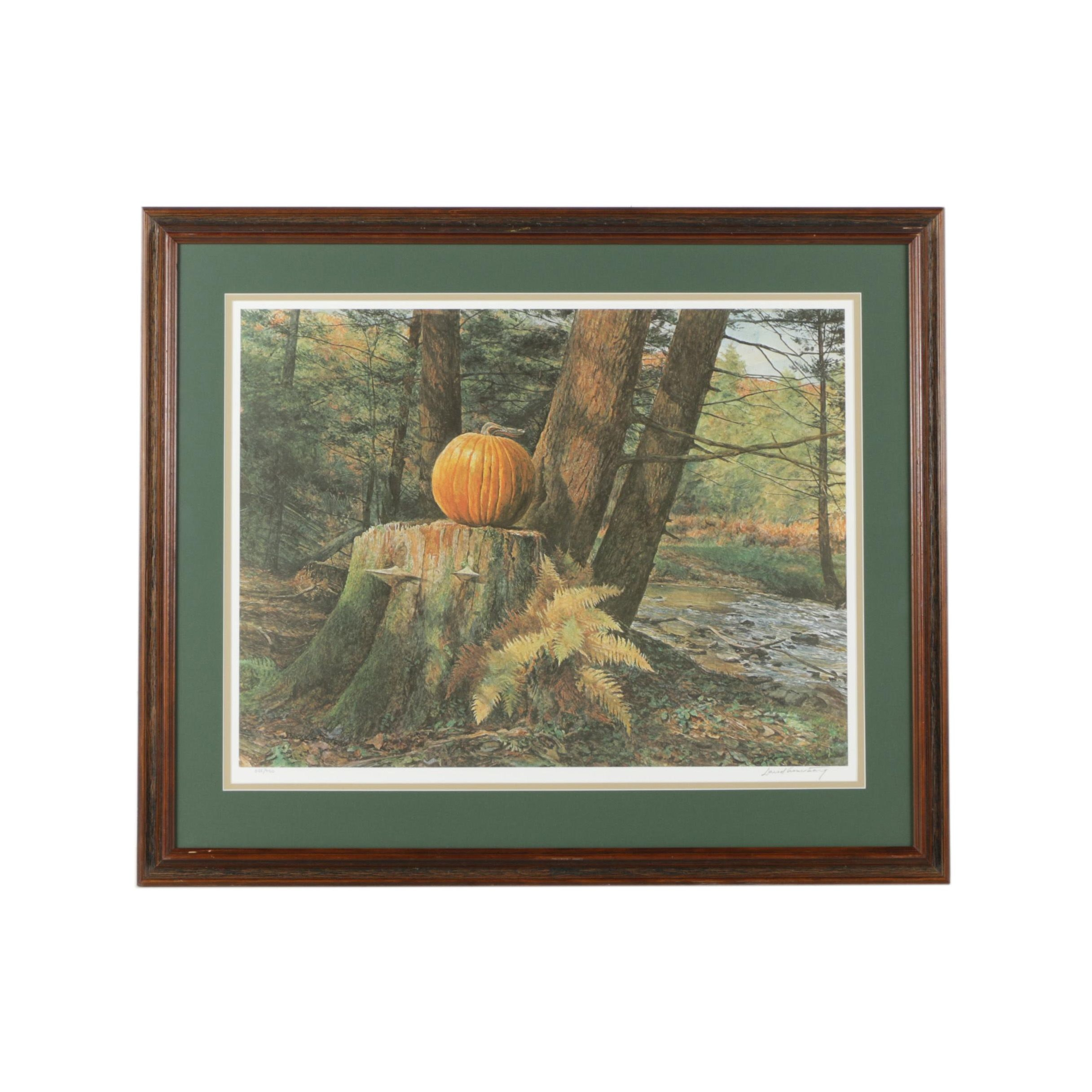 """David Armstrong Limited Edition Offset Lithograph """"Pumpkin Pines"""""""