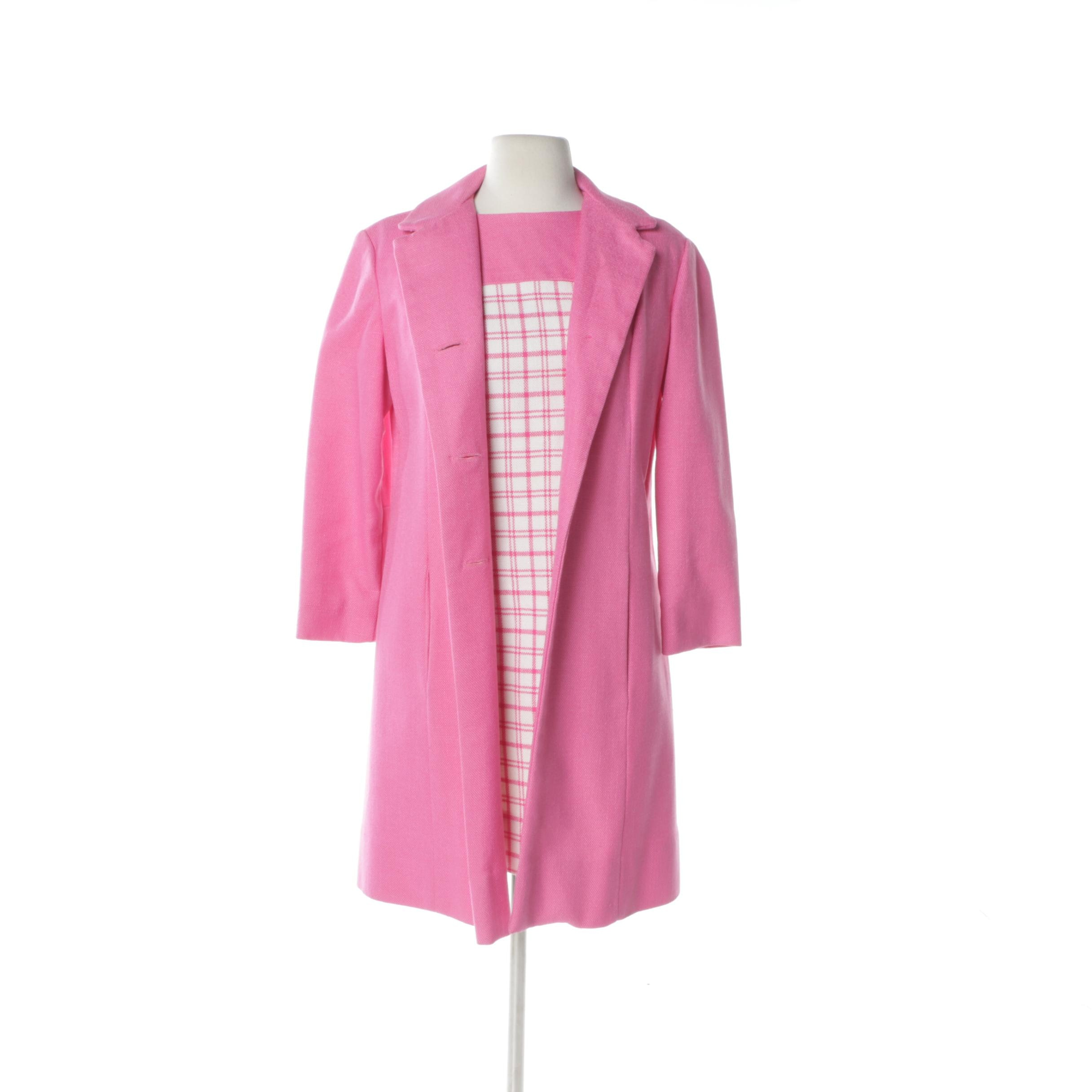 1960s Bubble Gum Pink Plaid Check Dress and Jacket
