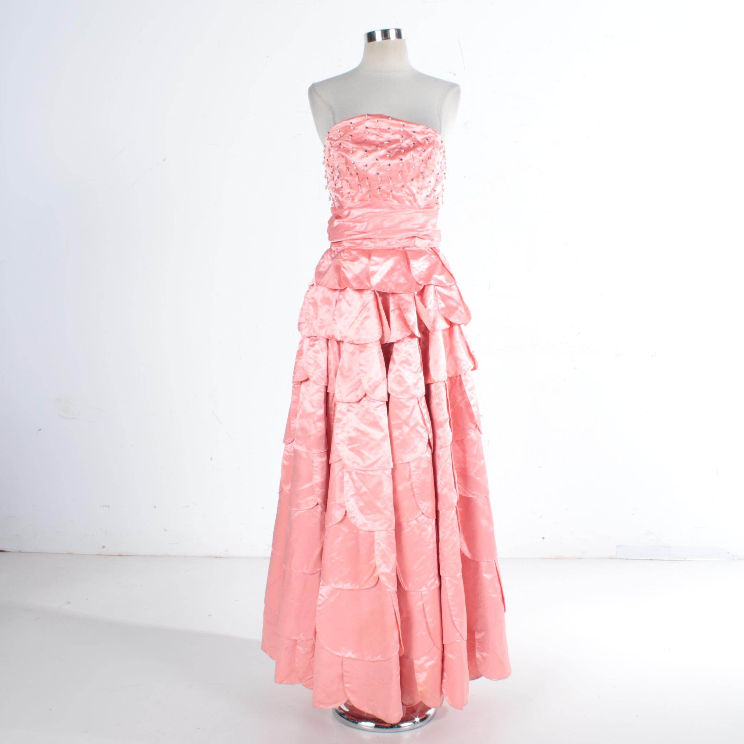 1950s Pink Silk, Rhinestone and Beaded Evening Gown