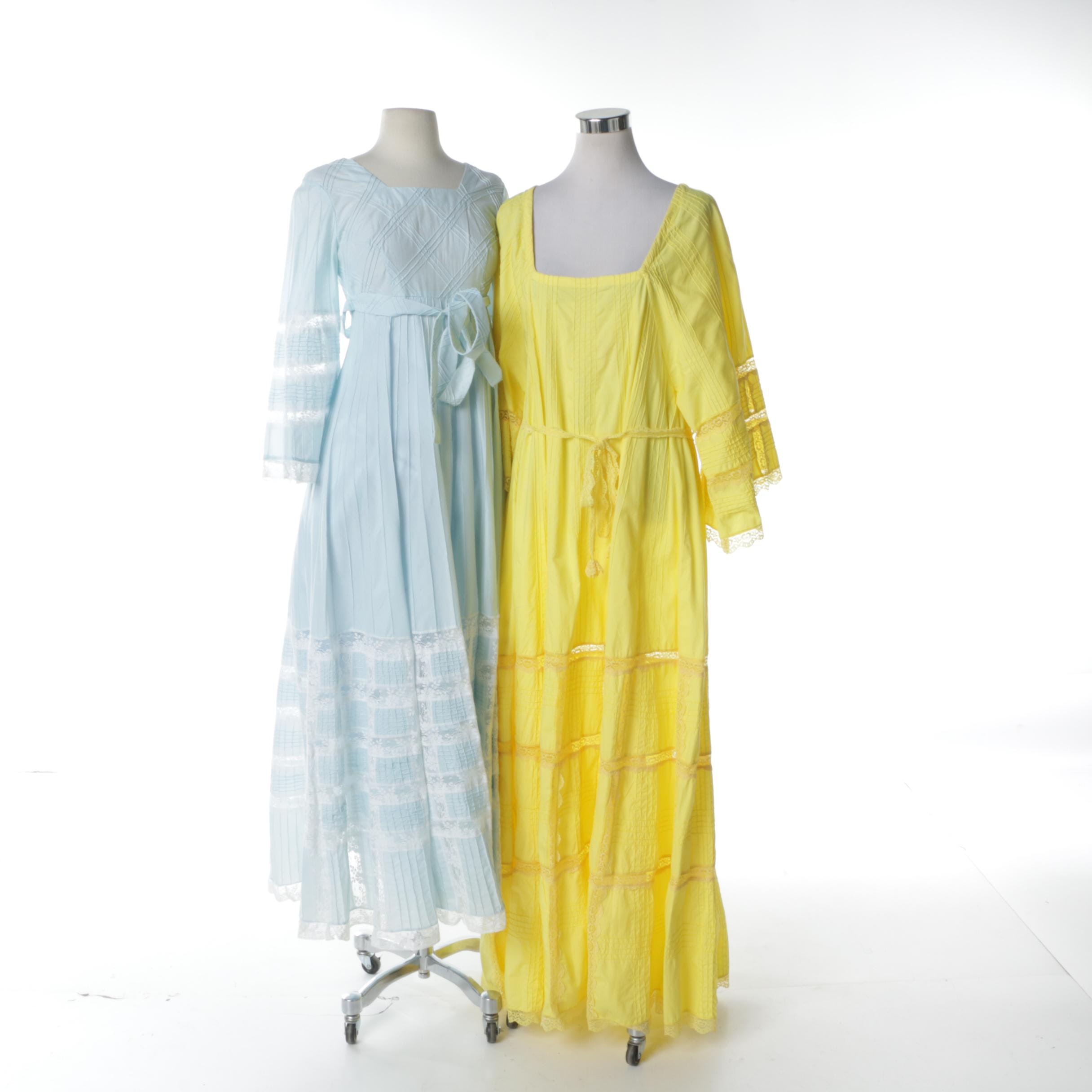 1970s Mexican Lace and Cotton Maxi Dresses