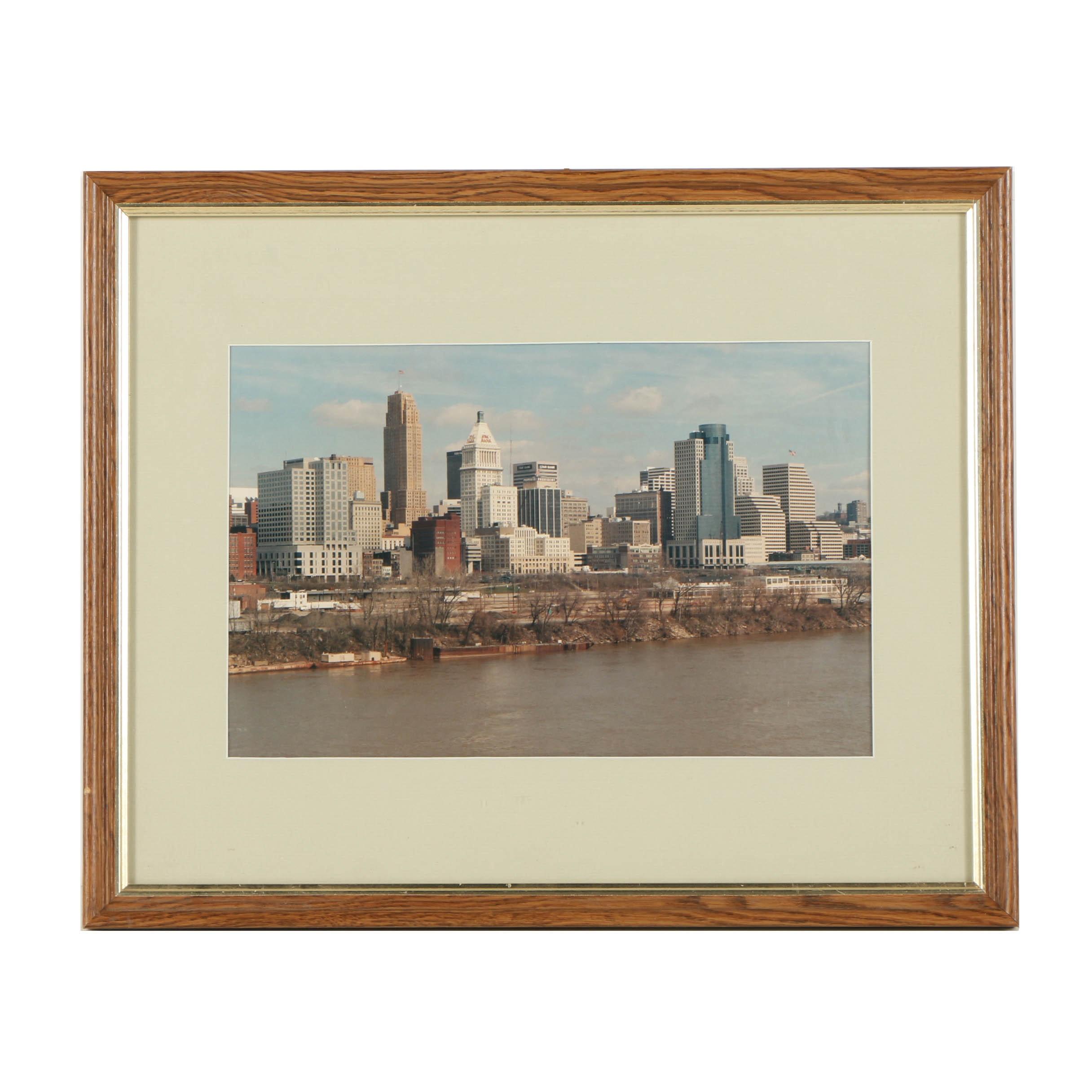 Late 20th Century Color Photograph of Cincinnati Skyline