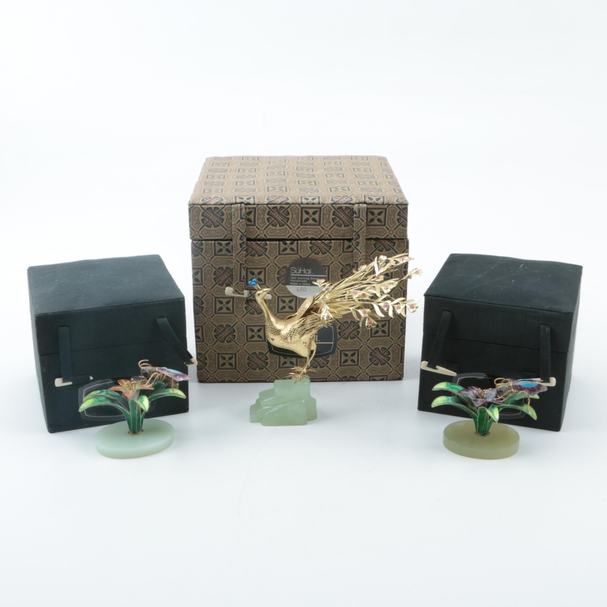 SúHai Chinese Gold-Plated Sterling Silver Peacock and Flower Enameled Figurines