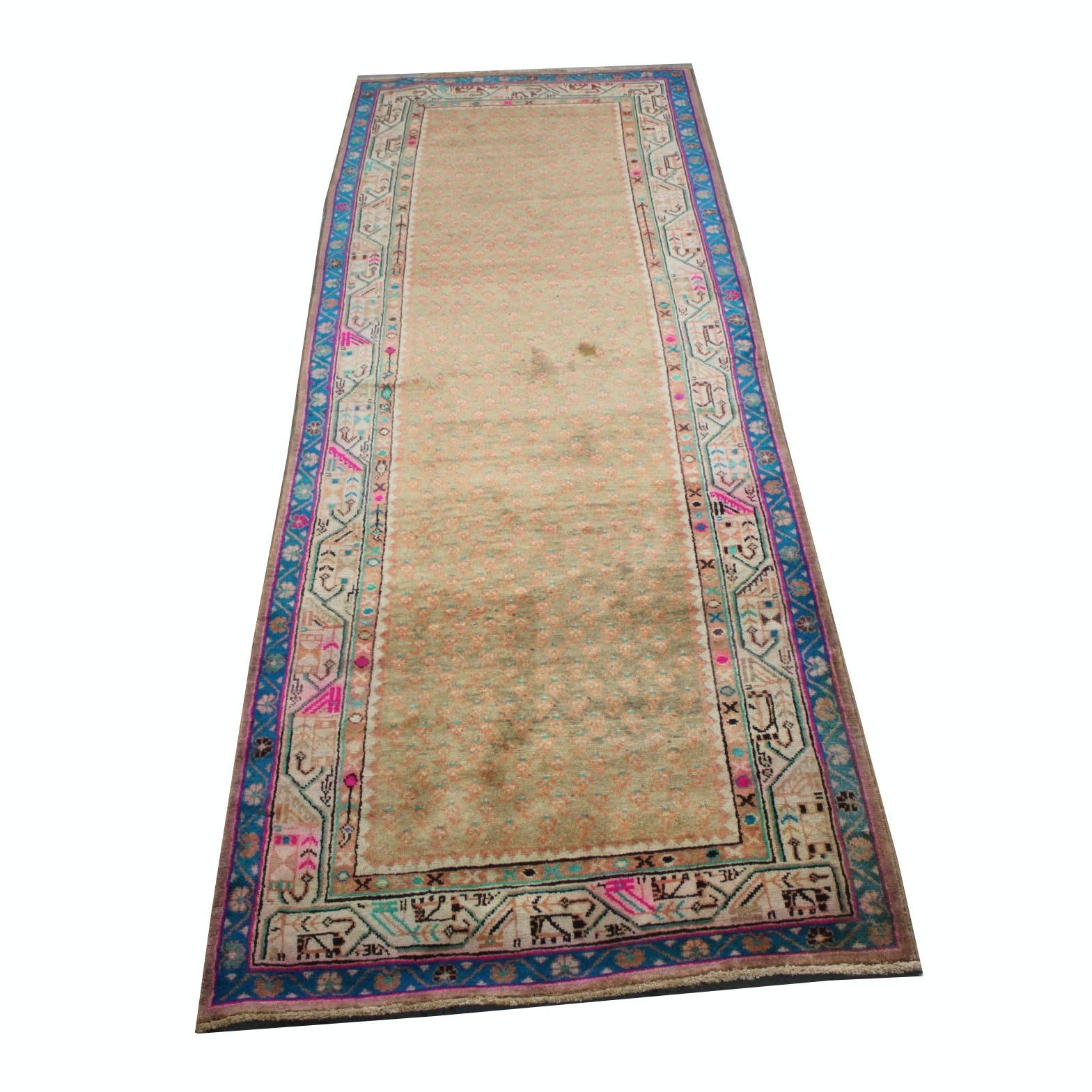 Hand-Knotted Persian Serabend Mir-a-Boteh Carpet Runner