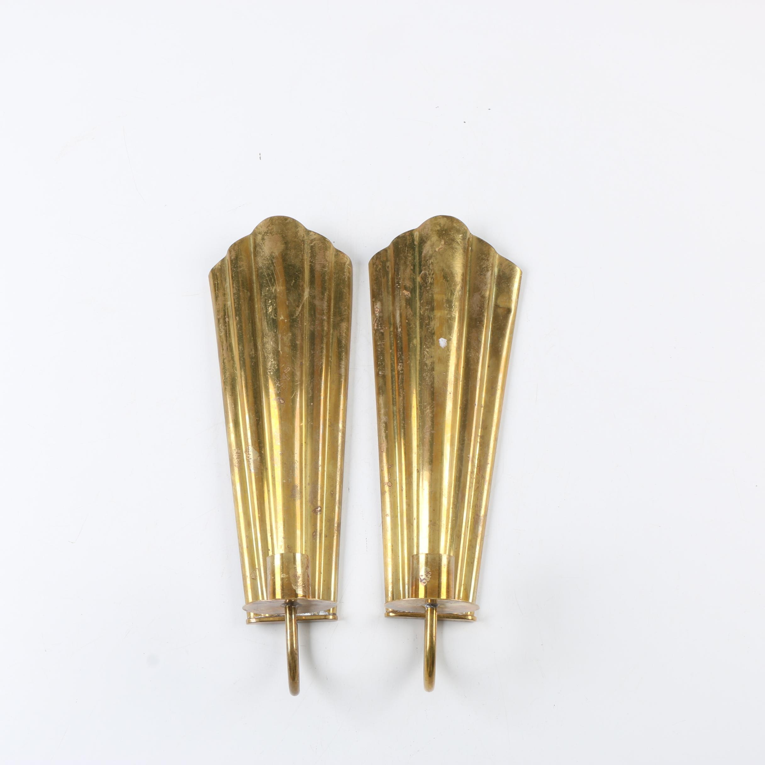 Art Deco Style Brass Candle Holder Sconces