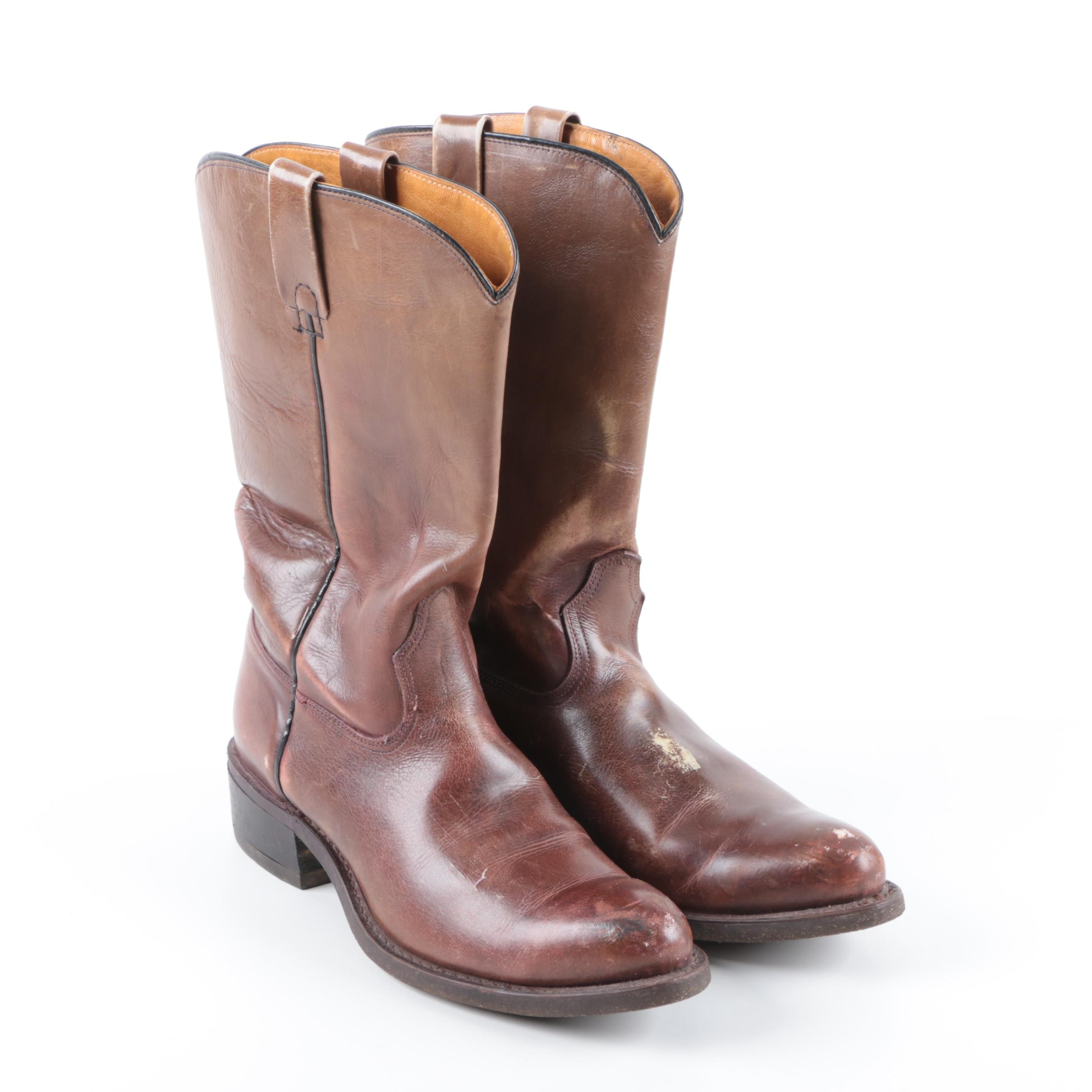 Vintage Custom Made Leather Cowboy Boots