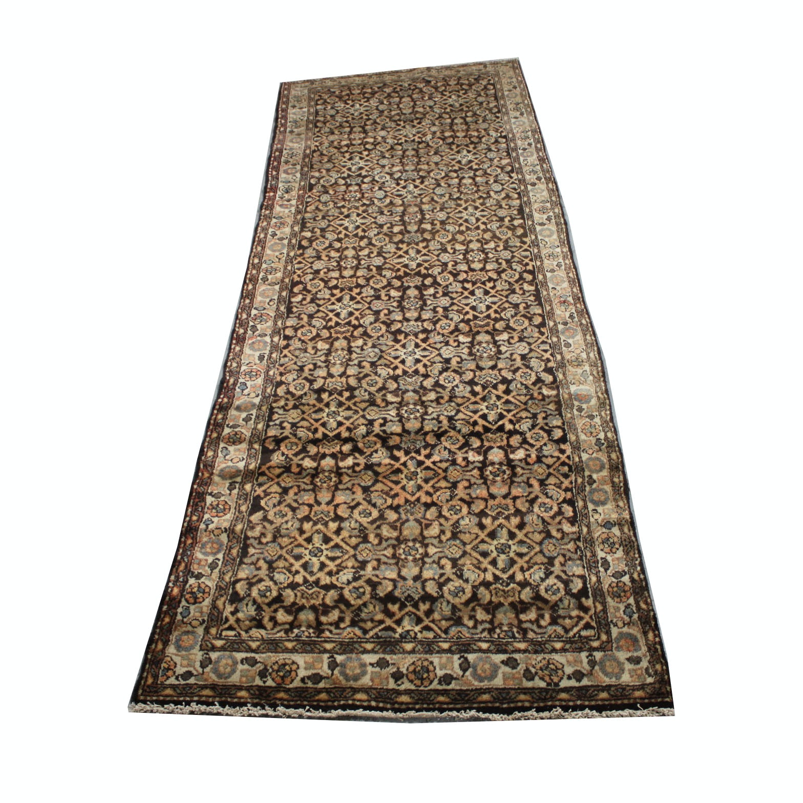 Vintage Hand-Knotted Persian Lilihan Wool Carpet Runner