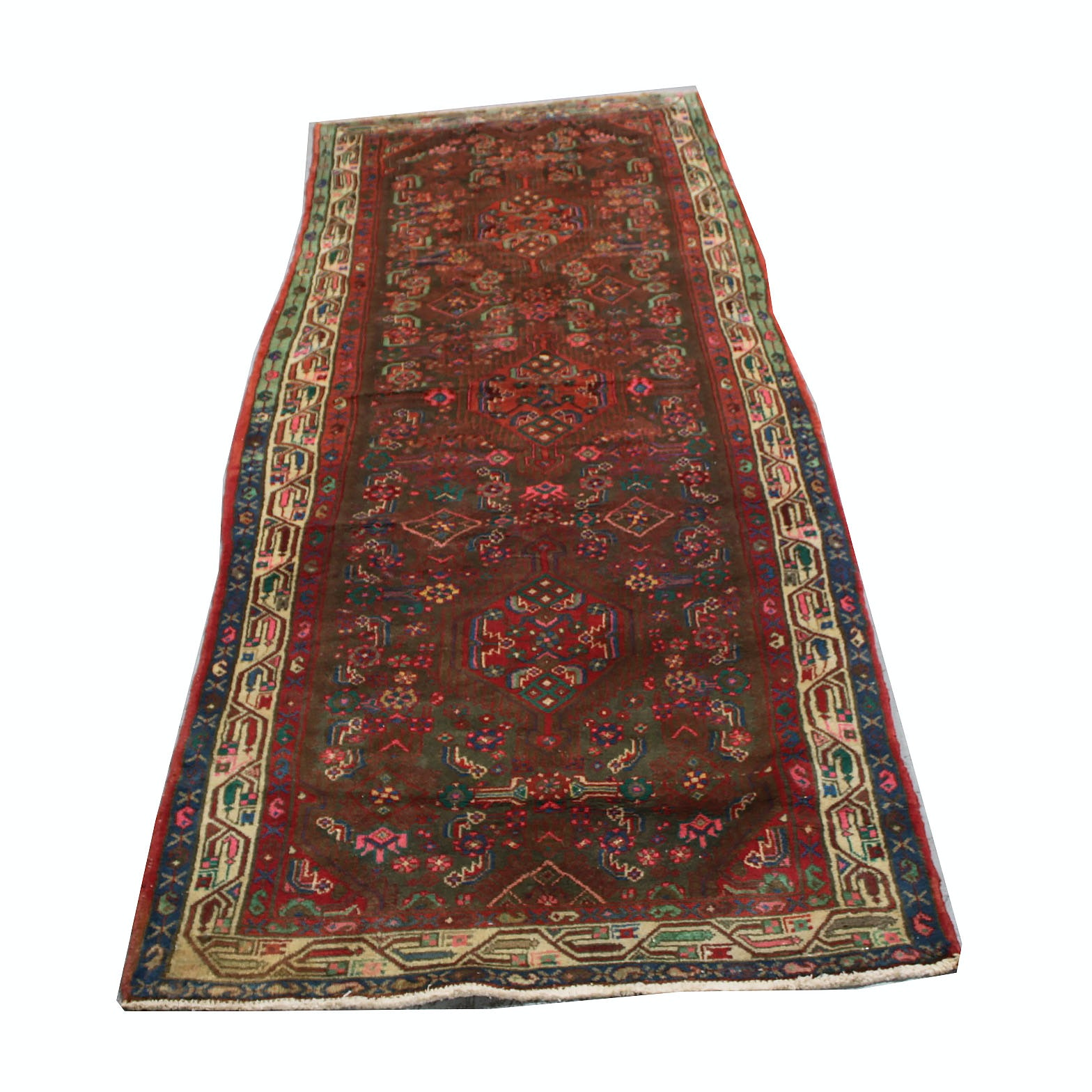 Vintage Hand-Knotted Persian Malayer Carpet Runner