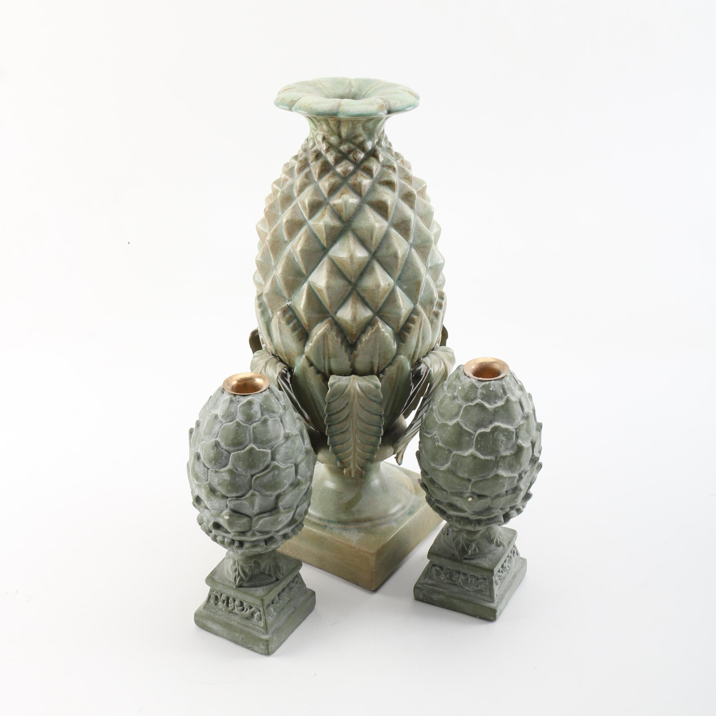 Pineapple and Artichoke Style Candle Holders