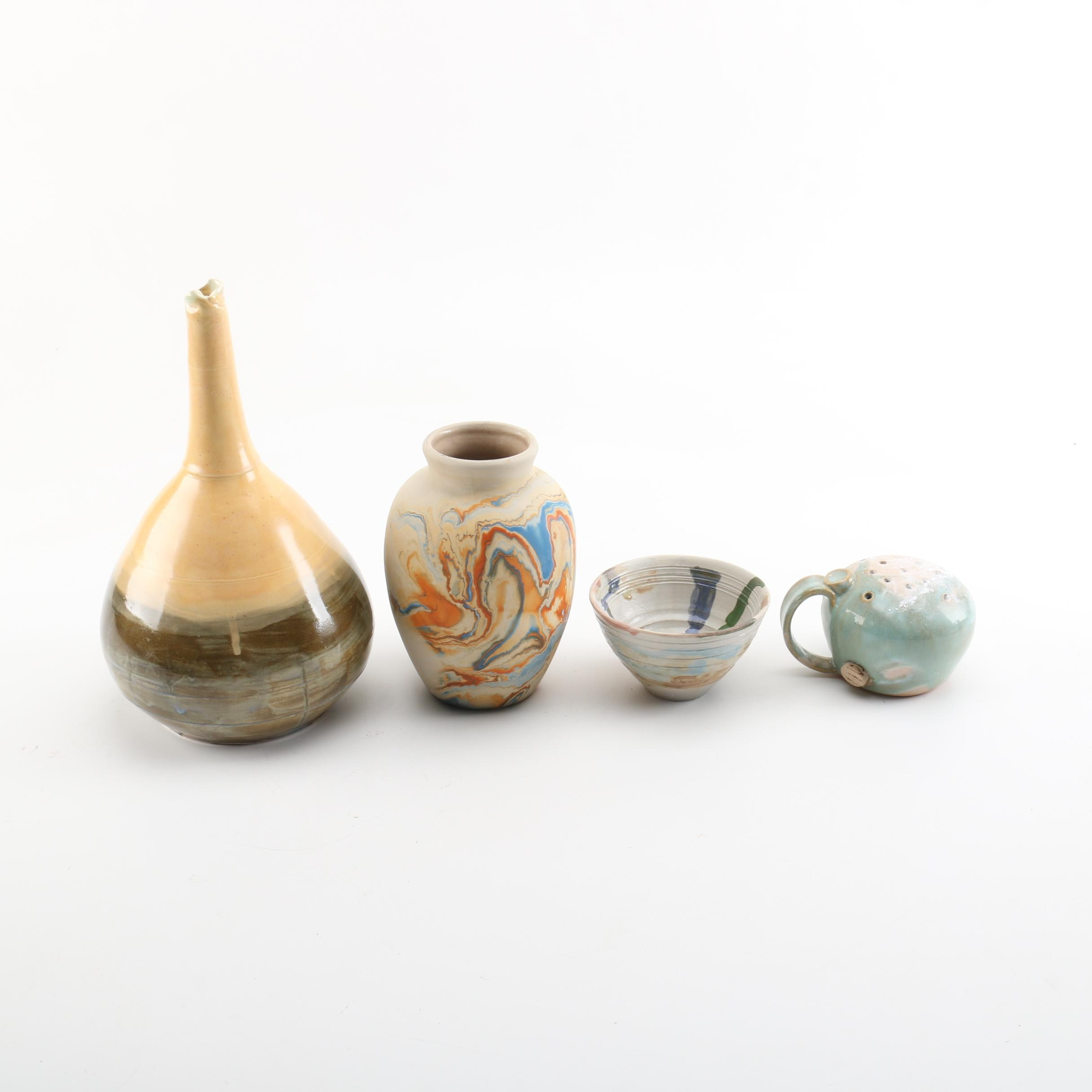 Nemadji Pottery Vase and Art Pottery Vessels