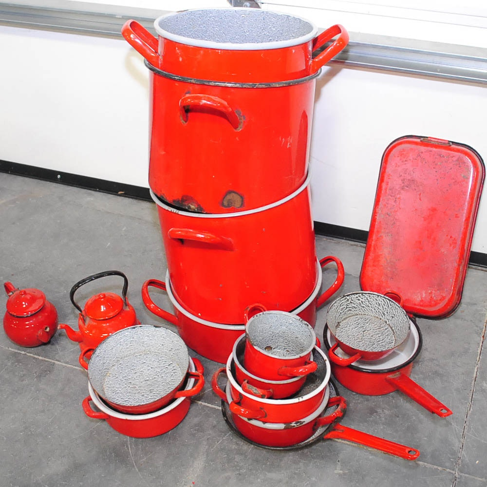 Vintage Red Enameled Cookware