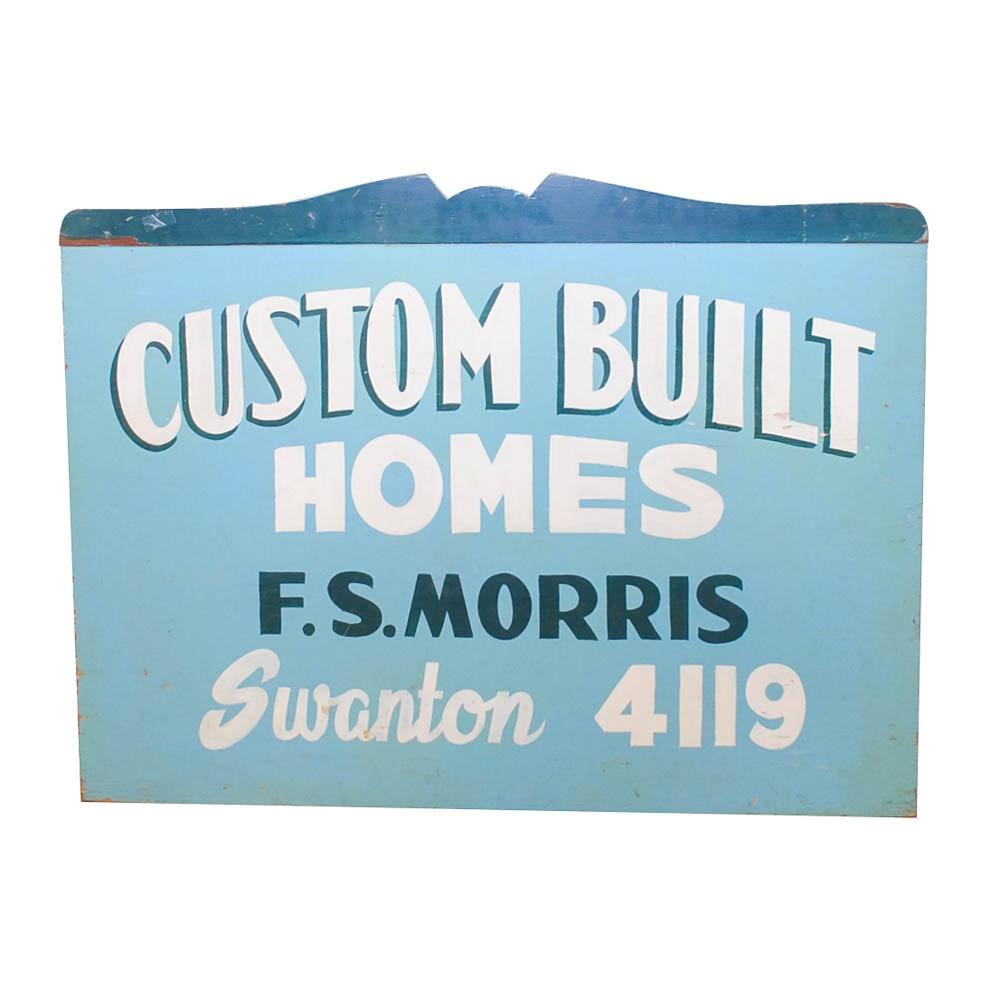 """Vintage """"Custom Built Homes"""" Wooden Sign"""