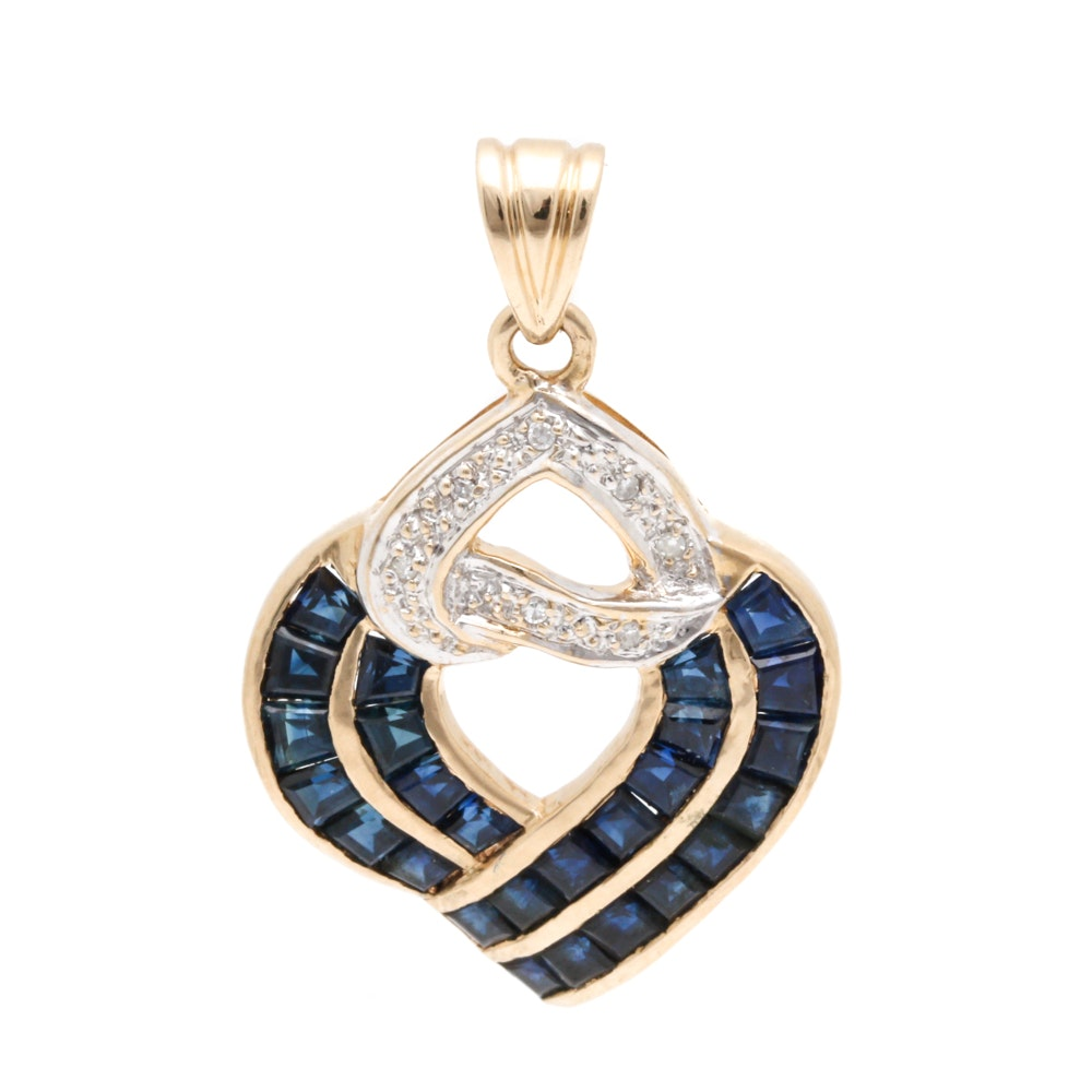 14K Yellow Gold Sapphire Diamond Pendant