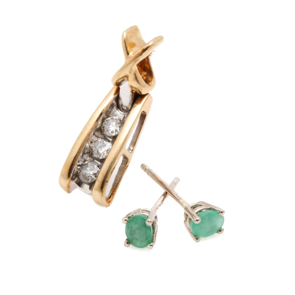 10K Yellow Gold Diamond Pendant and 14K Yellow Gold Emerald Earrings