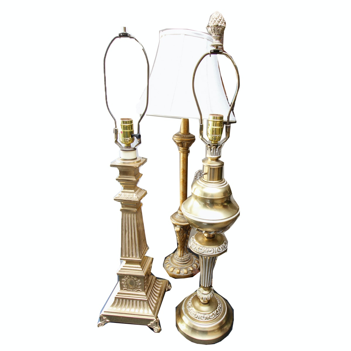 Three Gold Tone Table Lamps
