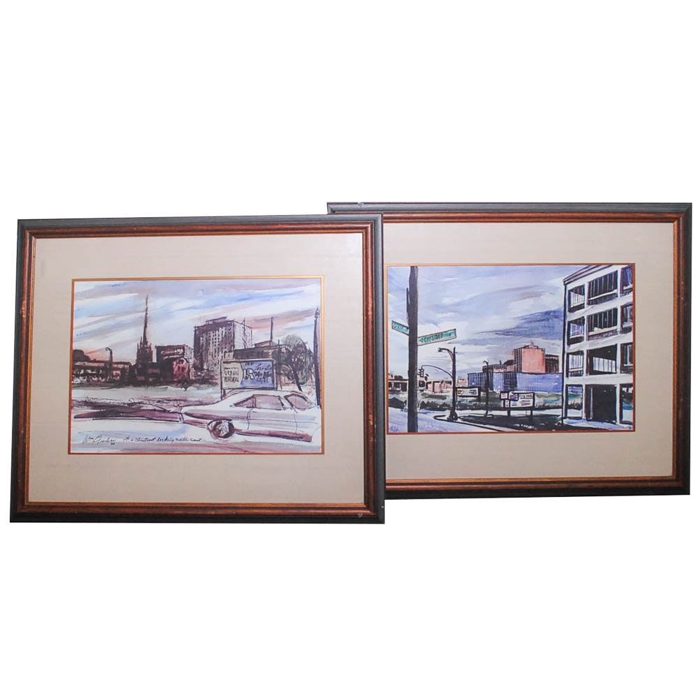 Offset Lithographs After William Fischer of Louisville Street Scenes
