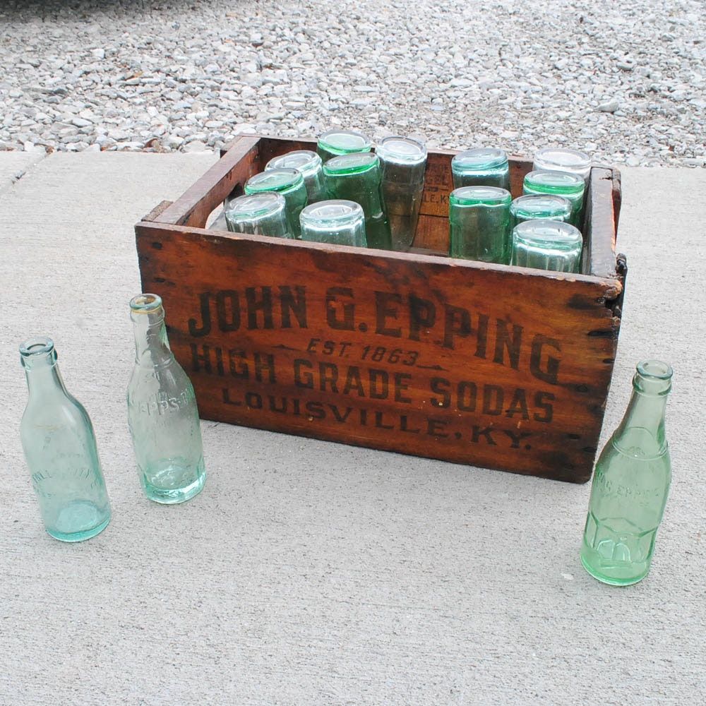 1910's John Epping Glass Soda Bottles with Wood Crate