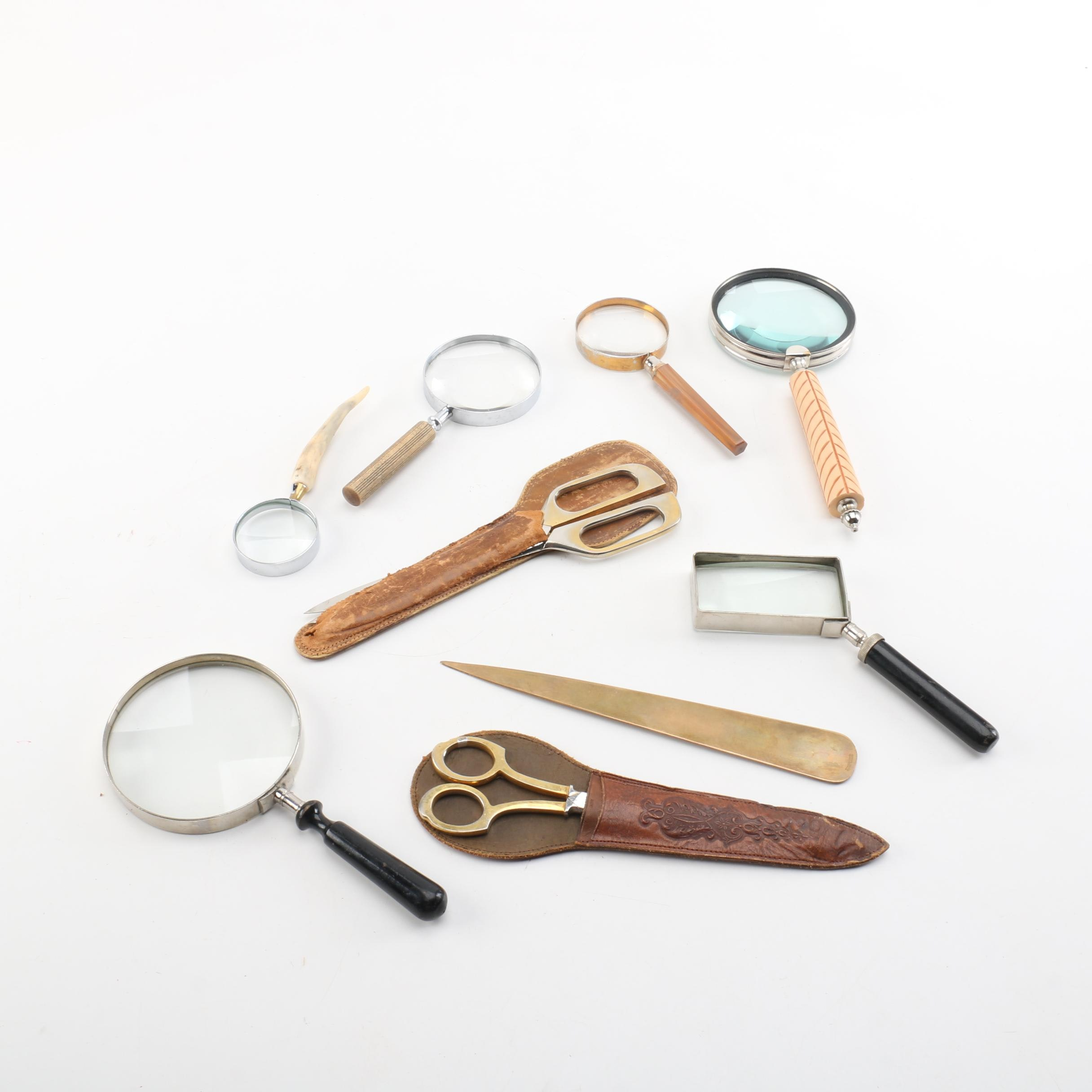 Vintage Magnifying Glasses and Scissors