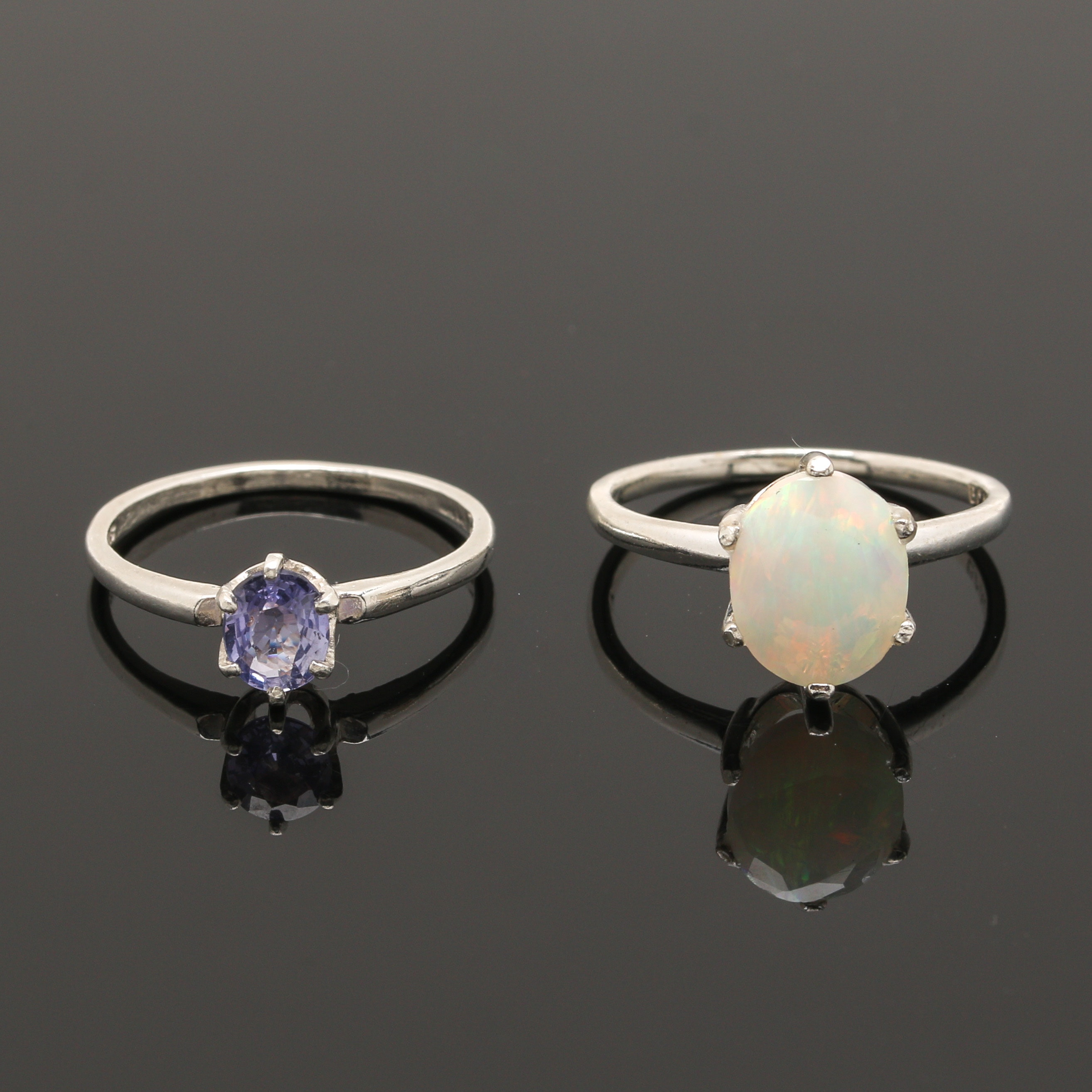 Sterling Silver Sapphire and Opal Rings
