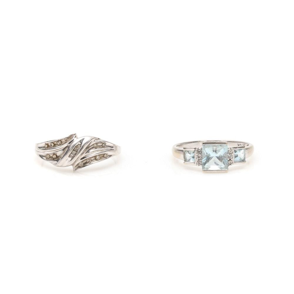 10K White Gold Aquamarine and Diamond Rings