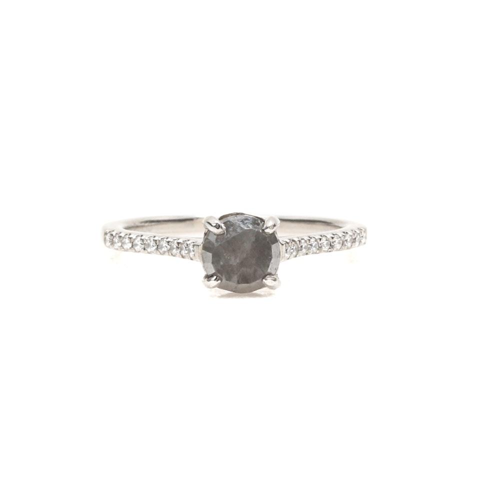Platinum Grey Diamond and Diamond Ring