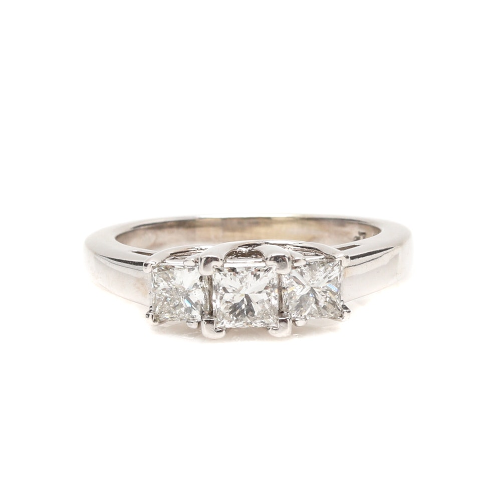 14K White Gold 1.00 CTW Diamond Three Stone Ring