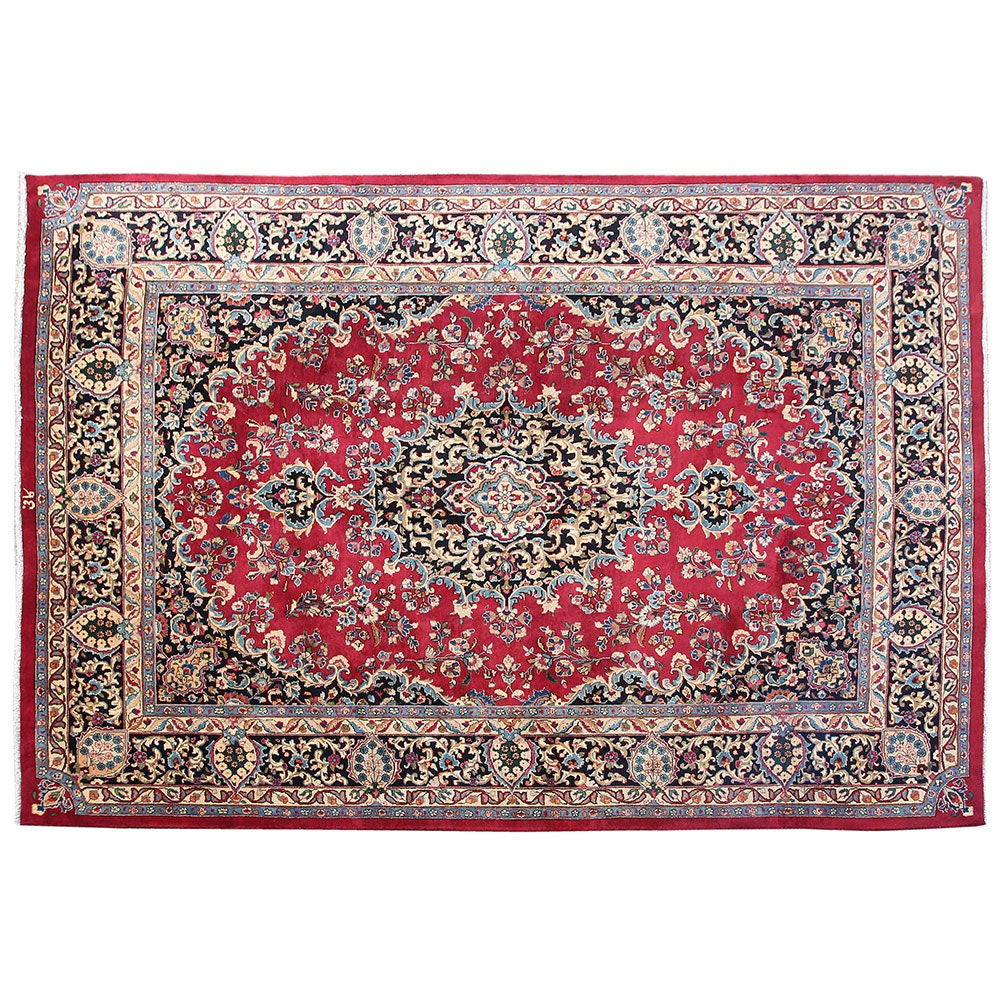 Hand-Knotted Inscribed Persian Mashhad Wool Area Rug