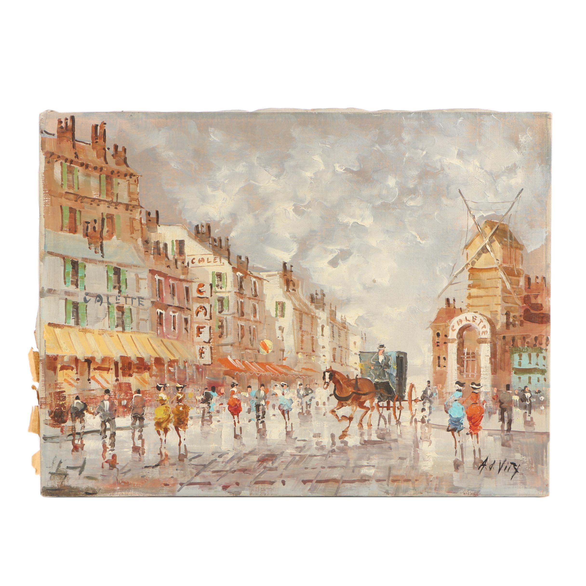 Antonio DeVity Oil Painting of Paris
