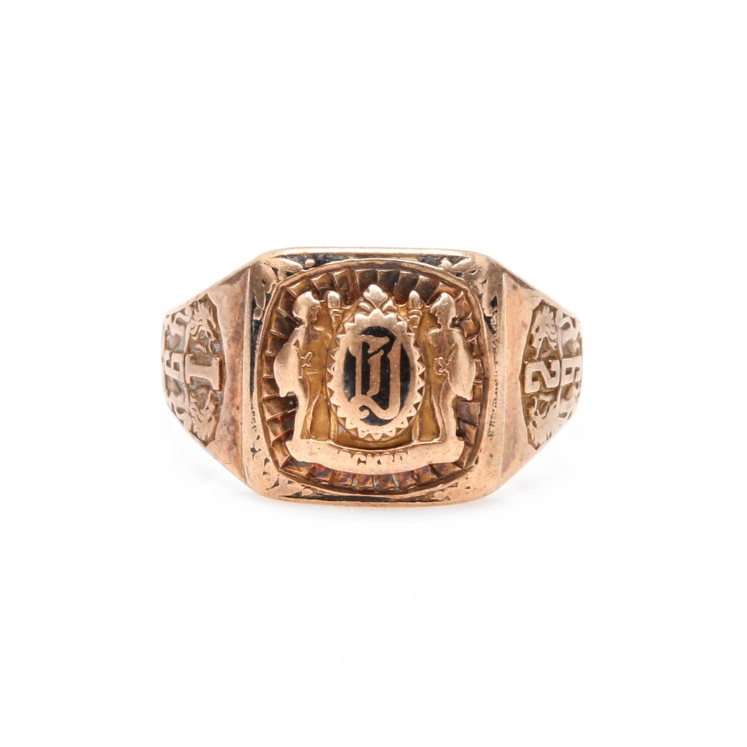 1929 10K Yellow Gold Enamel Class Ring