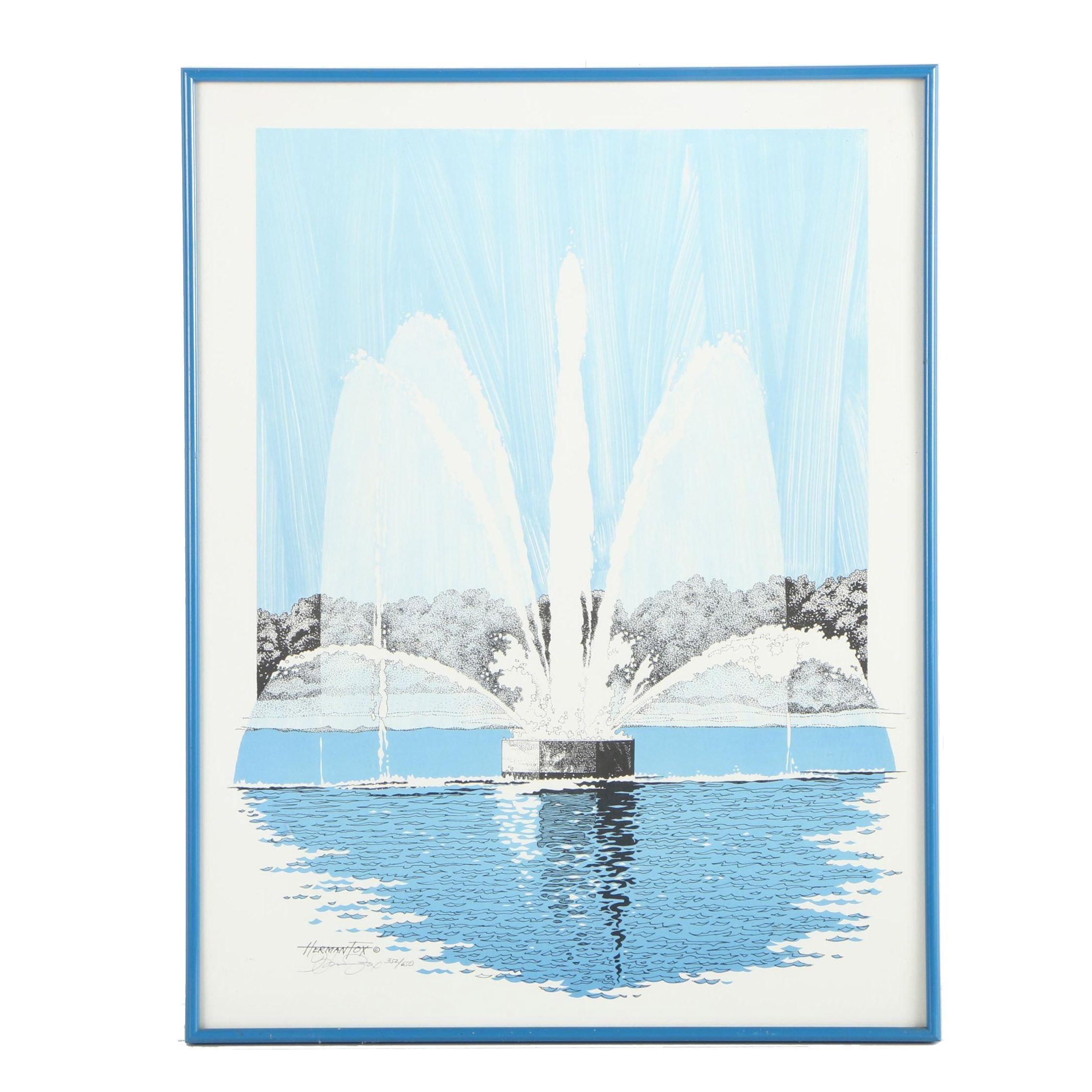 Herman Fox Circa 1980s Limited Edition Offset Lithograph of a Park Fountain