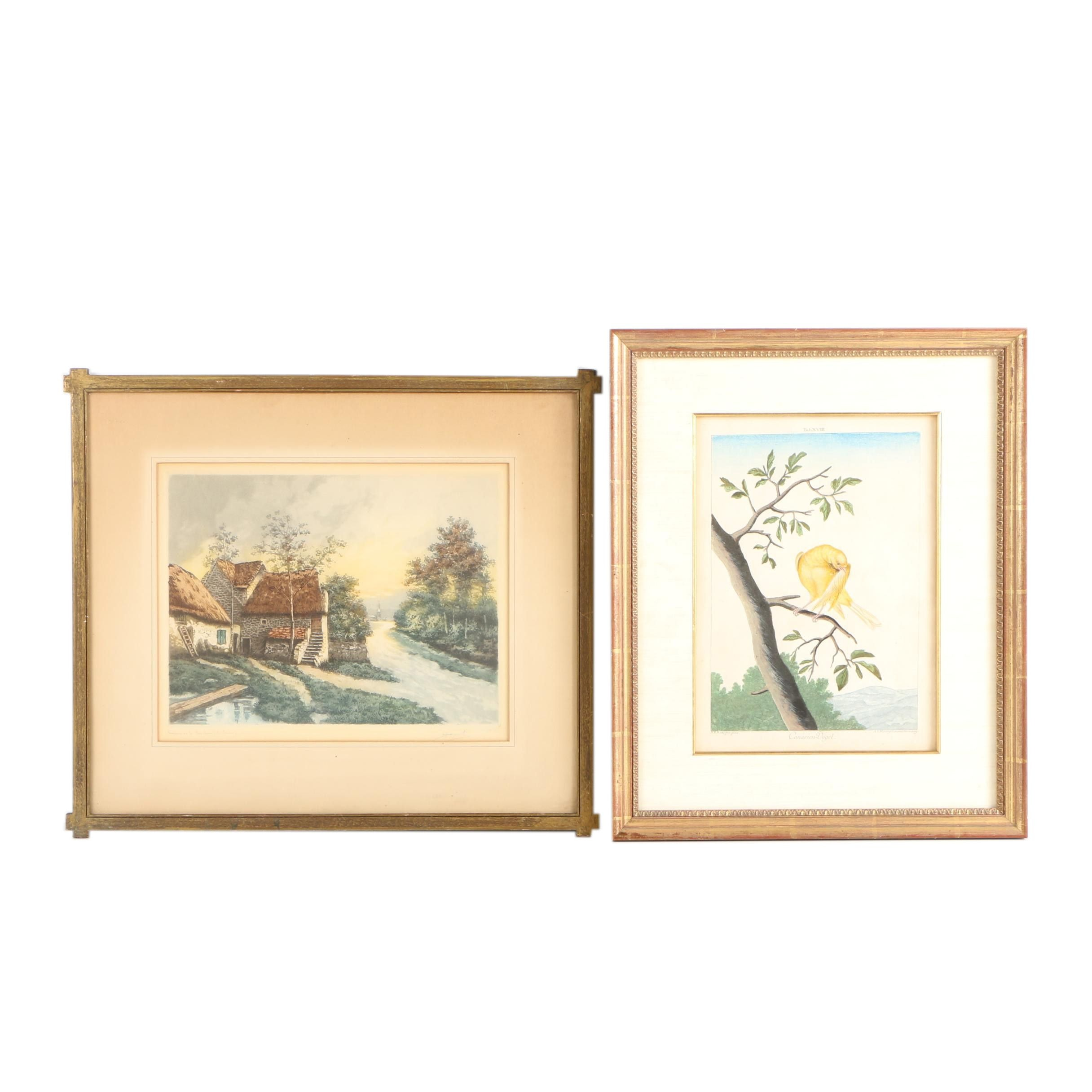 "Intaglio Prints of a Landscape and ""Canarien-Vogel"""