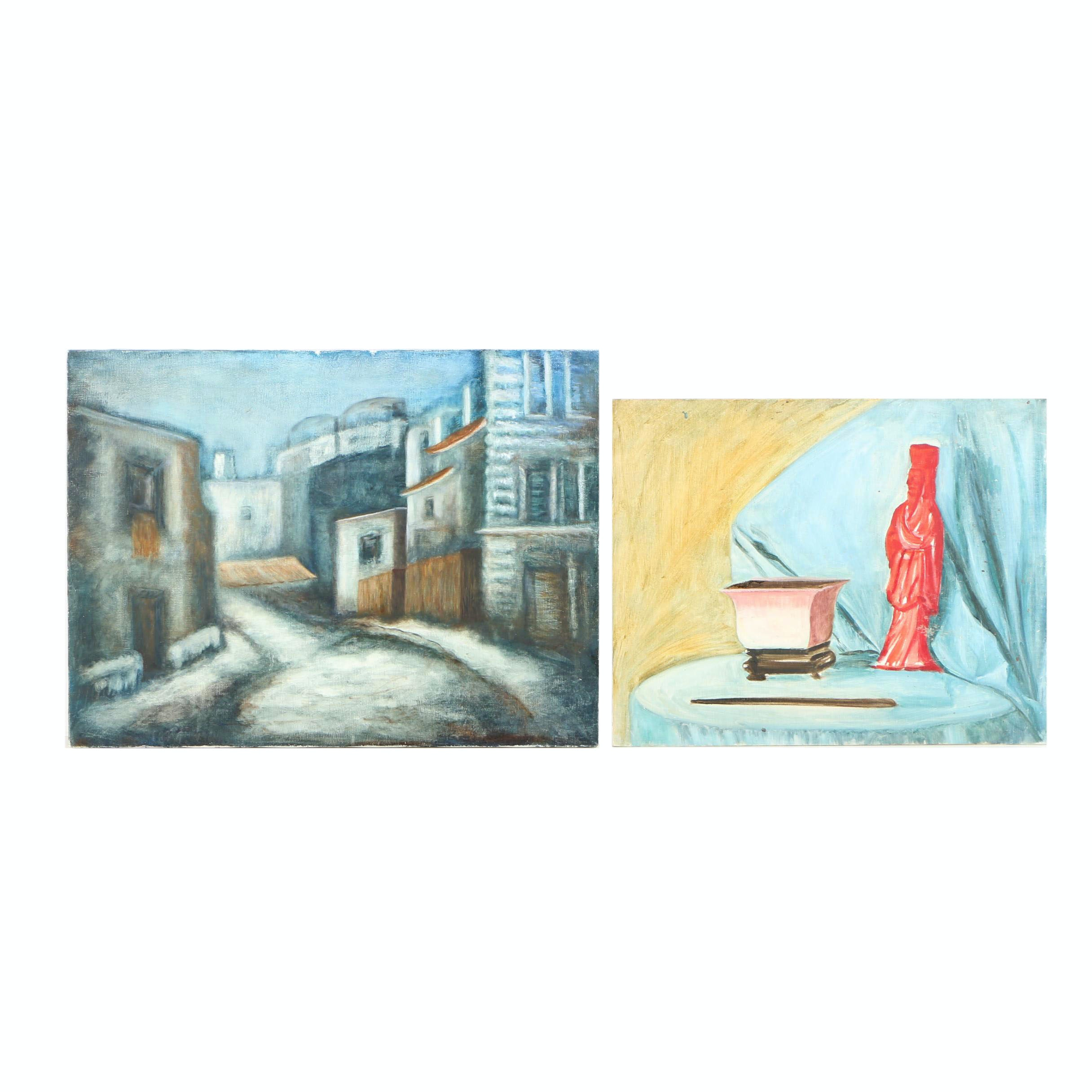 Acrylic Paintings of Town and Still Life Scenes