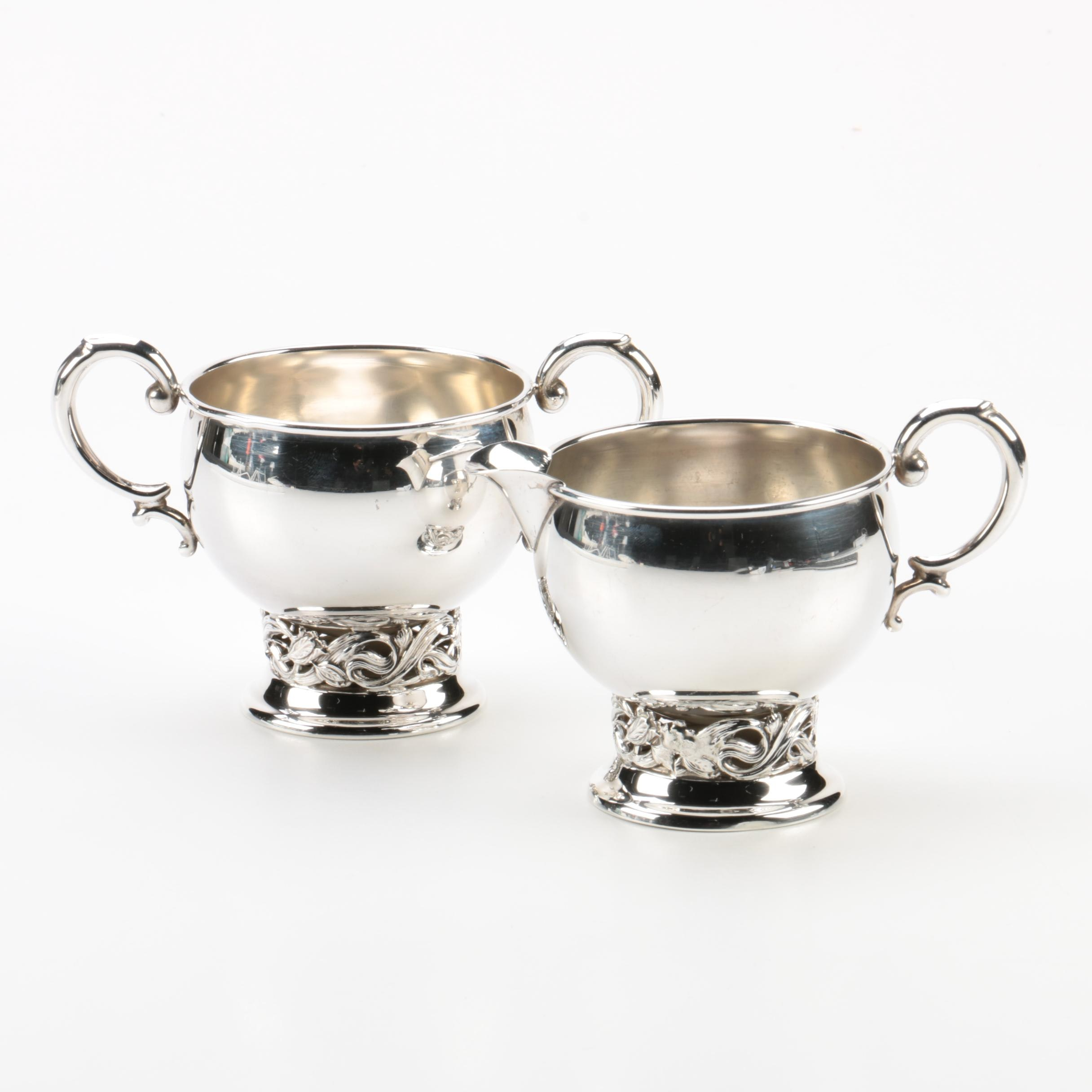 Mid-Century Sterling Silver Cream and Sugar in the Style of Alphonse La Paglia