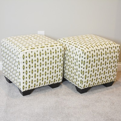 Two Upholstered Cube Ottomans