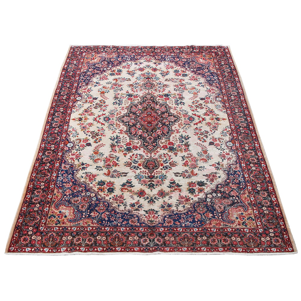 Vintage Hand-Knotted Persian Arak Wool Area Rug