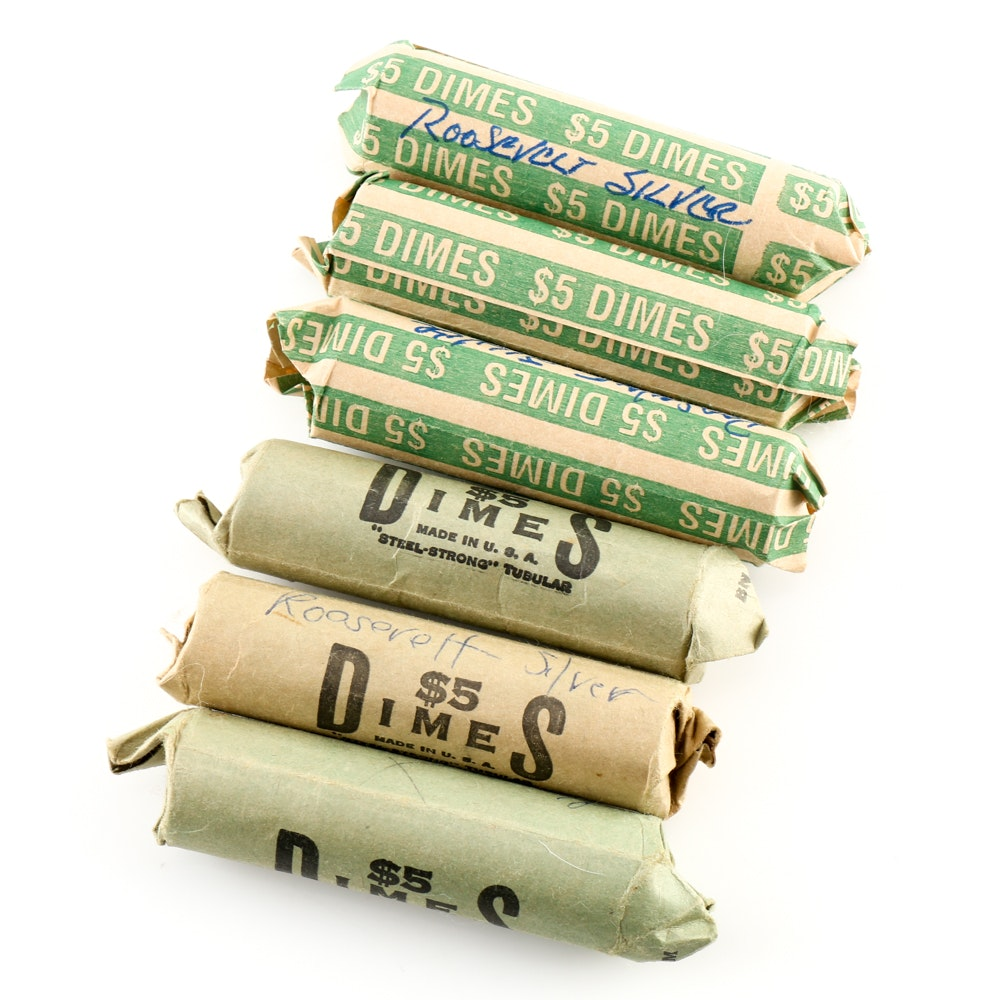 Six Rolls of Roosevelt Silver Dimes