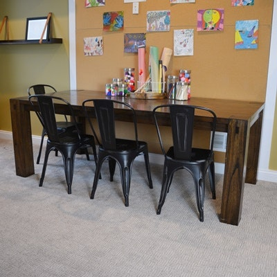 Dining Table and Four Industrial Style Metal Chairs