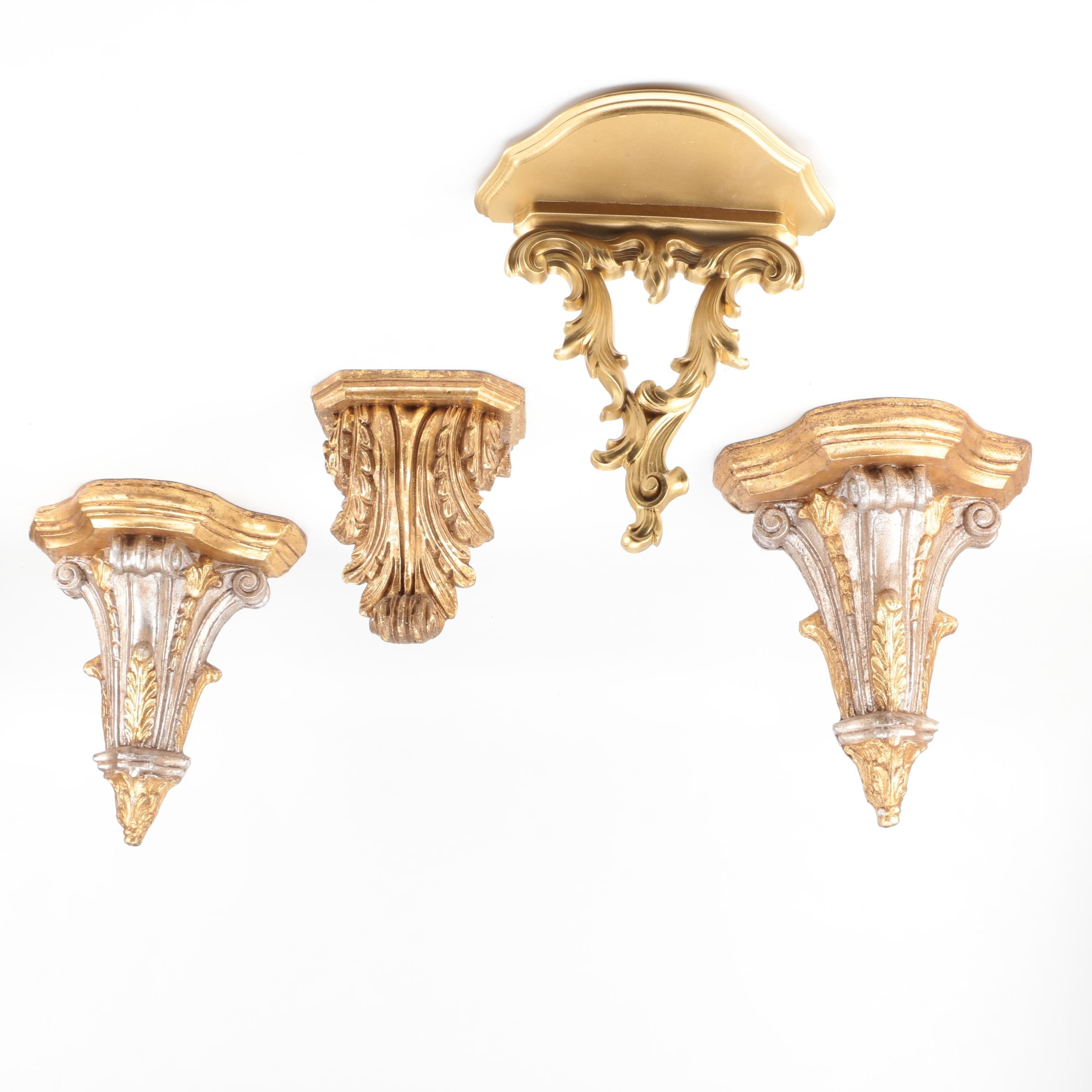 Selection of Wall Mount Style Gold Tone Pedestals