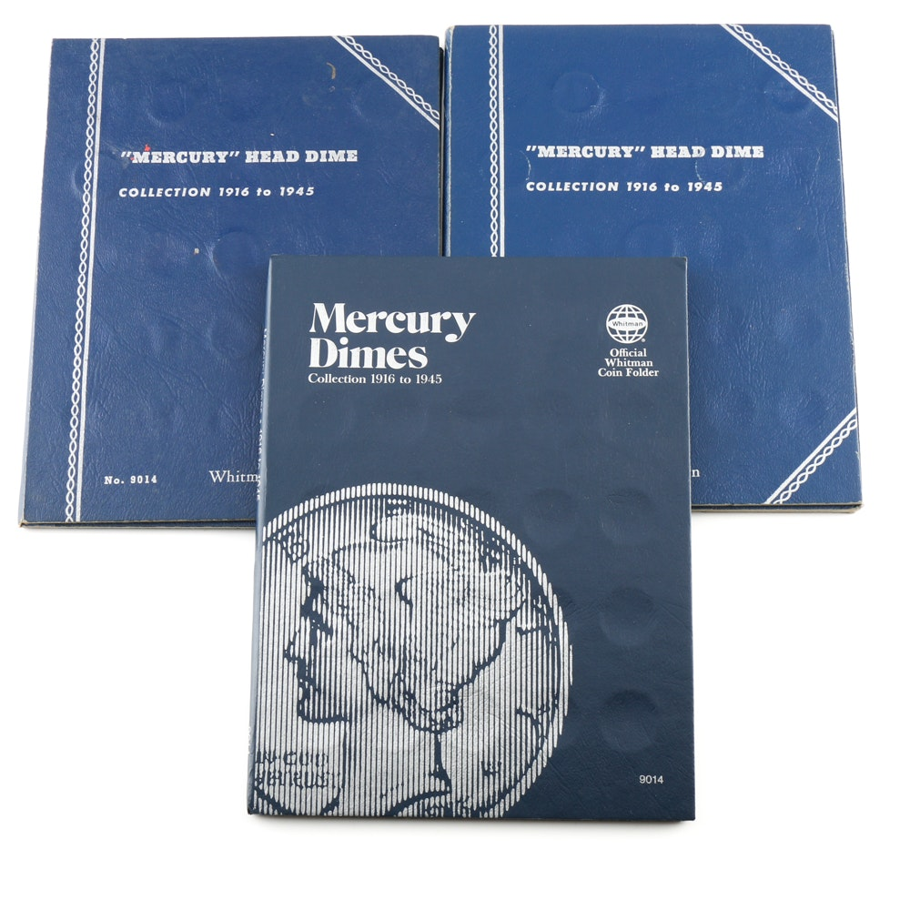 Three Partially Filled Volumes of Mercury Dimes