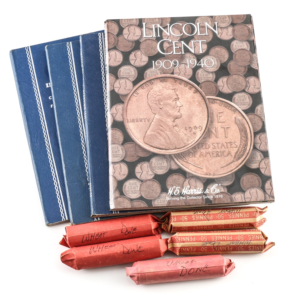 Lincoln Wheat and Memorial Cents with Folders