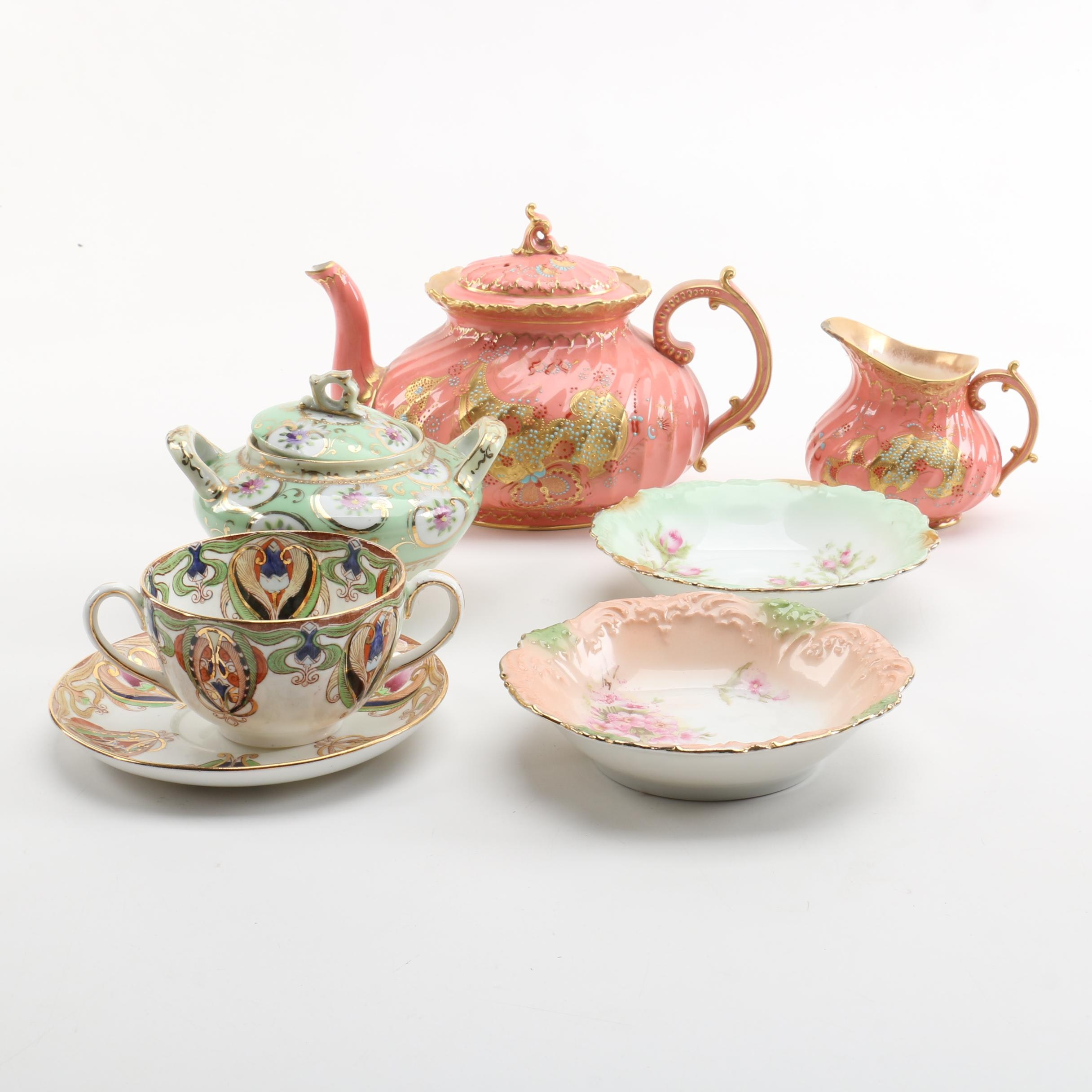 Tableware Including Antique Royal Derby Teapot and Creamer