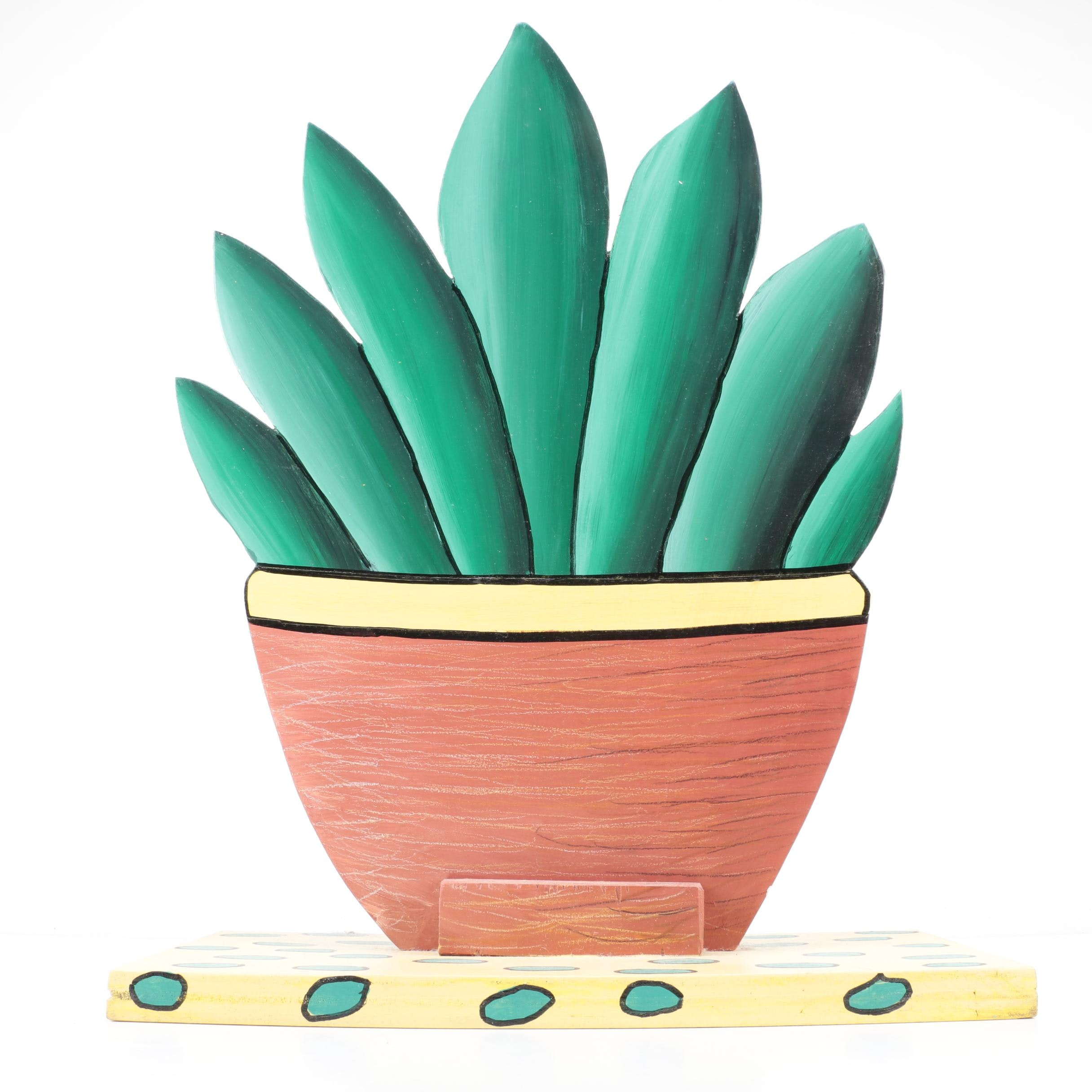 Painted Wooden Potted Plant