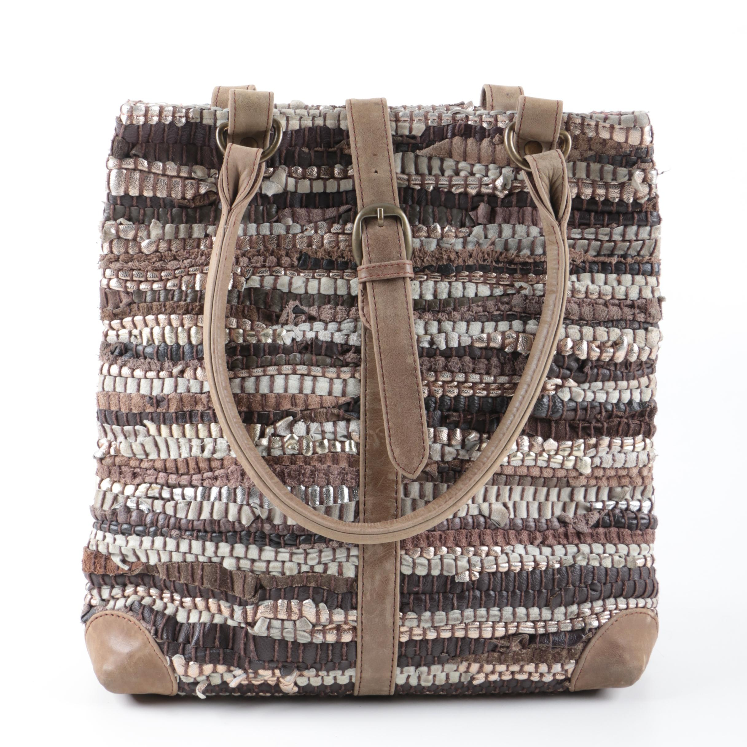 Woven Leather and Suede Handbag in Neutral